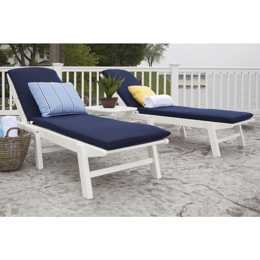 Chaise Lounge Chairs In White With Navy Cushions In Preferred Polywood Nautical White 3 Piece Plastic Patio Chaise Set With Sunbrella White/navy Cushions (View 5 of 25)
