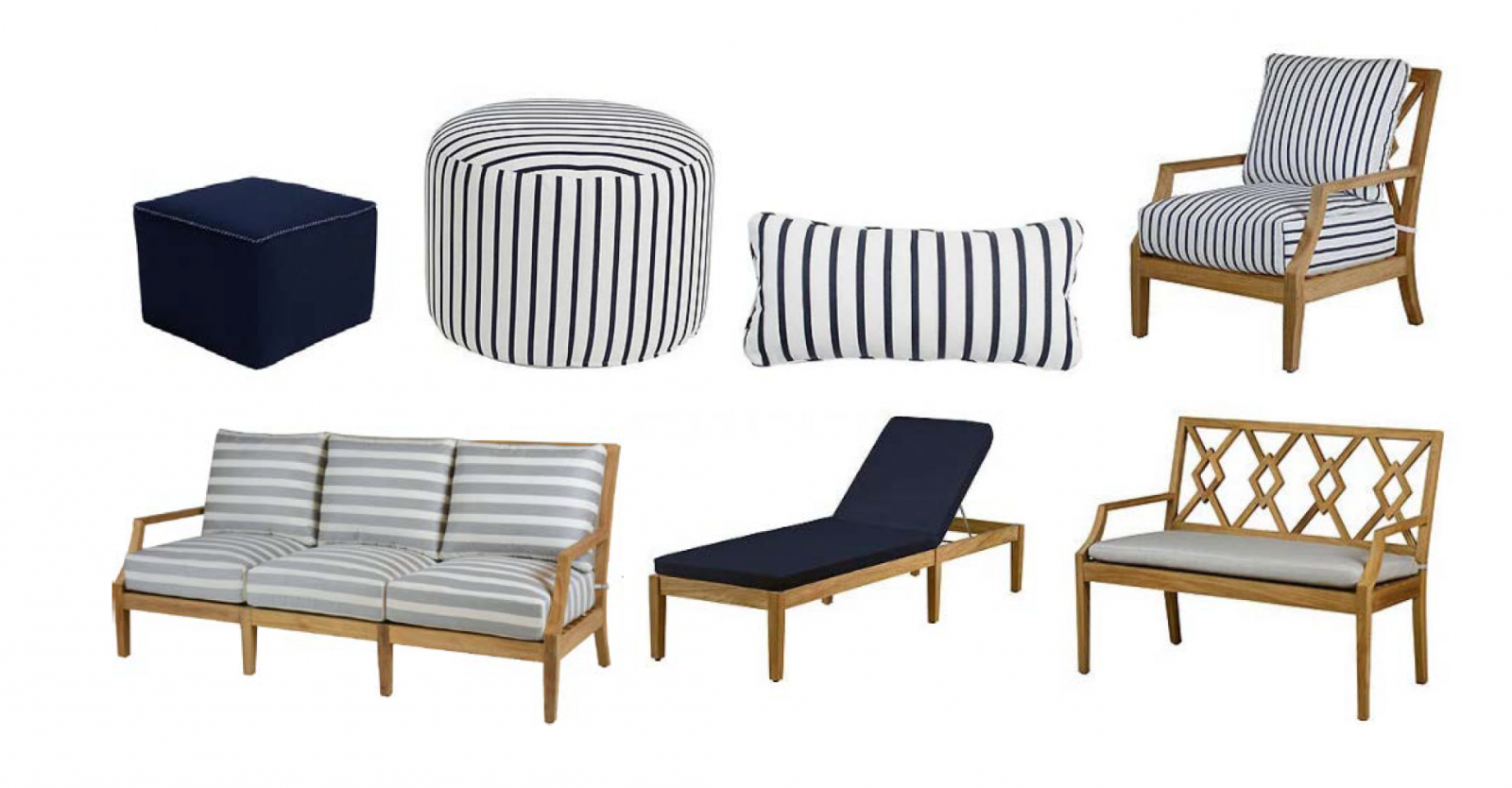 Chaise Lounge Chairs In White With Navy Cushions Intended For Widely Used One Kings Lane Launches New Outdoor Furniture Collections (View 24 of 25)