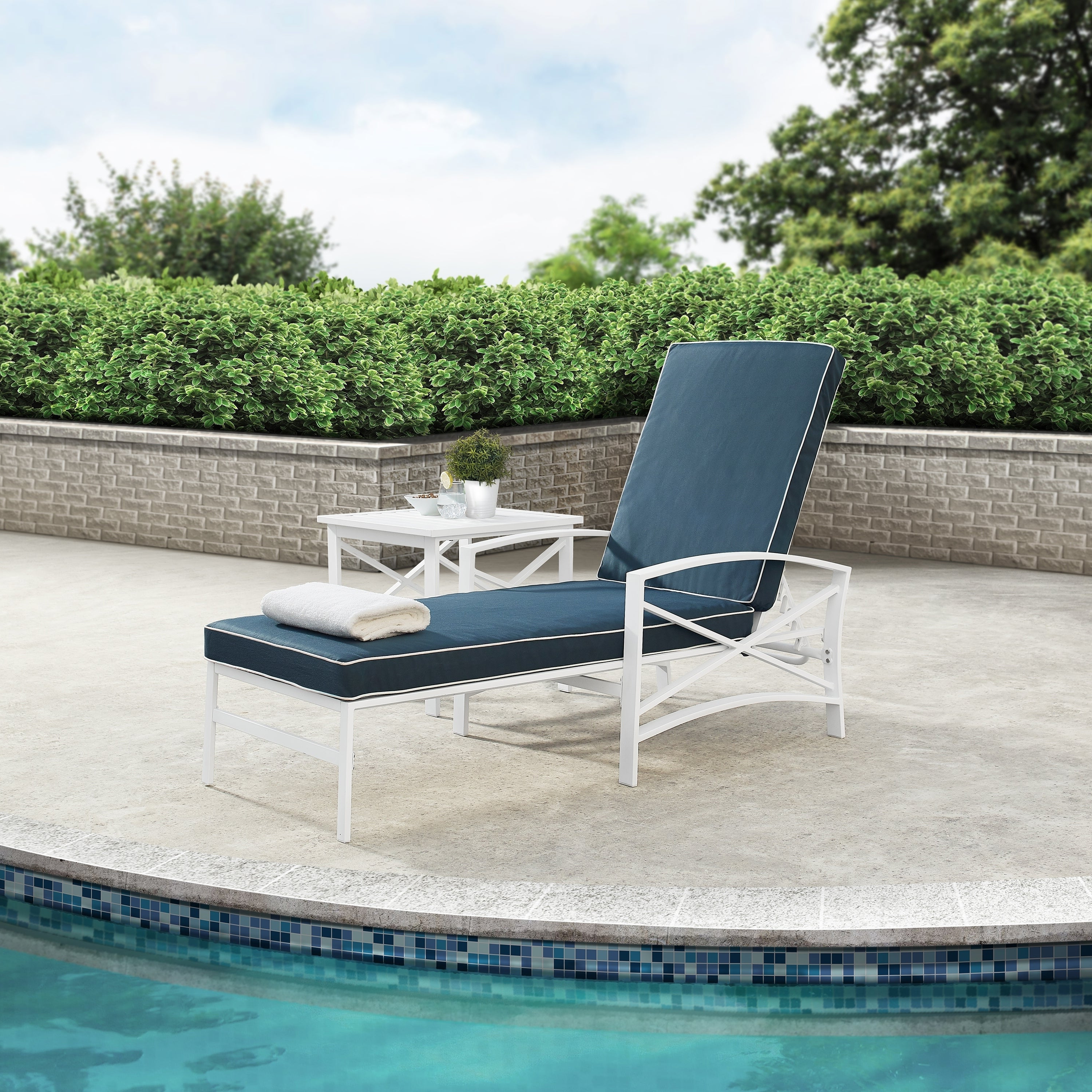 Chaise Lounge Chairs In White With Navy Cushions Pertaining To Most Recent Havenside Home Davis Chaise Lounge Chair In White With Navy Cushions (View 4 of 25)