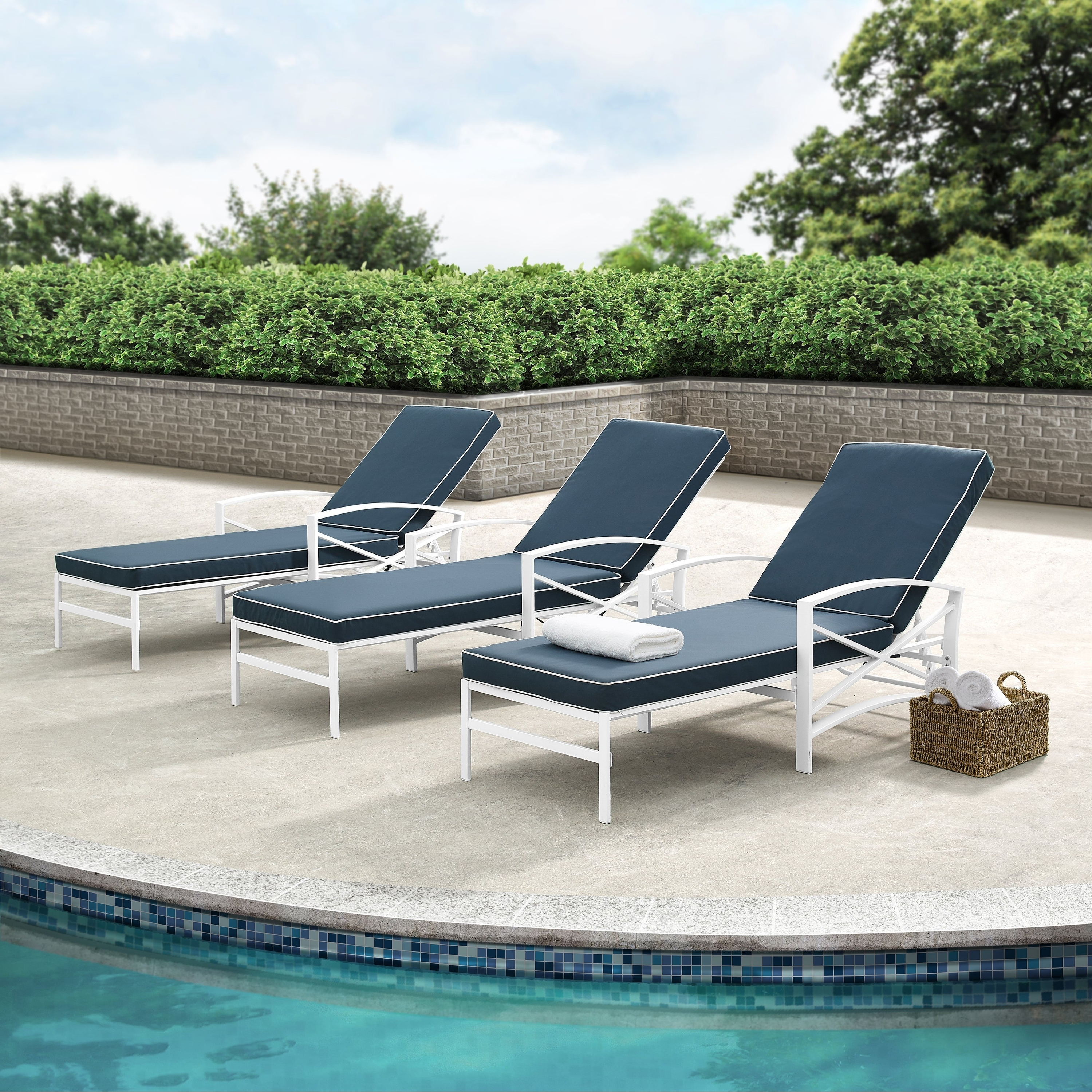 Featured Photo of Chaise Lounge Chairs in White with Navy Cushions