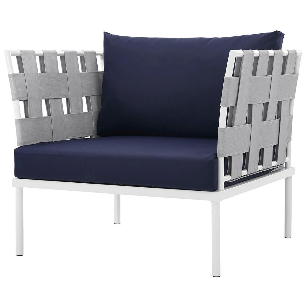 Chaise Lounge Chairs In White With Navy Cushions With 2019 Modway Harmony Aluminum Outdoor Patio Lounge Chair In White With Navy Cushions (View 14 of 25)