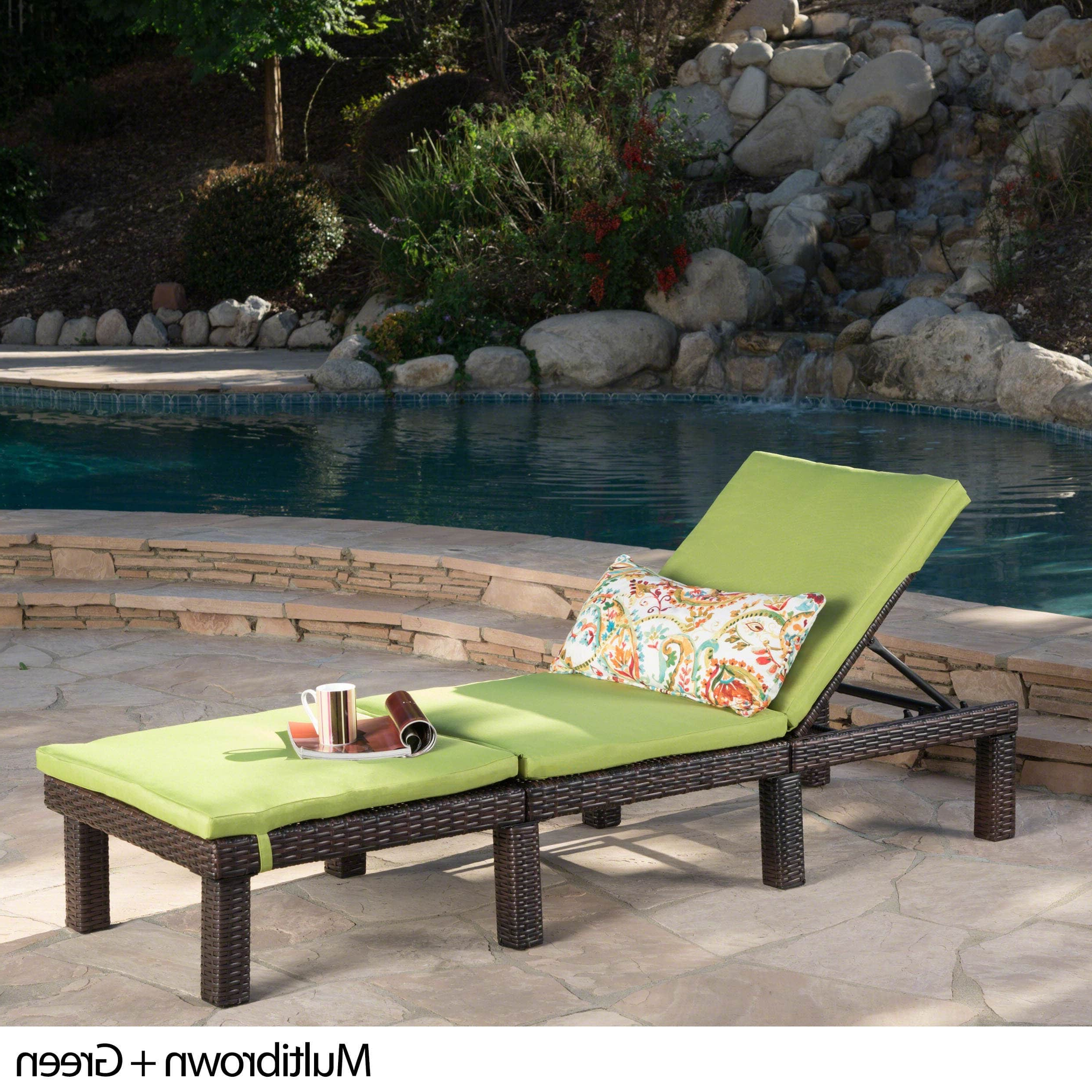 Christopher Knight Home Jamaica Outdoor Chaise Lounge With Cushion By Pertaining To Current Jamaica Outdoor Wicker Chaise Lounges With Cushion (View 9 of 25)