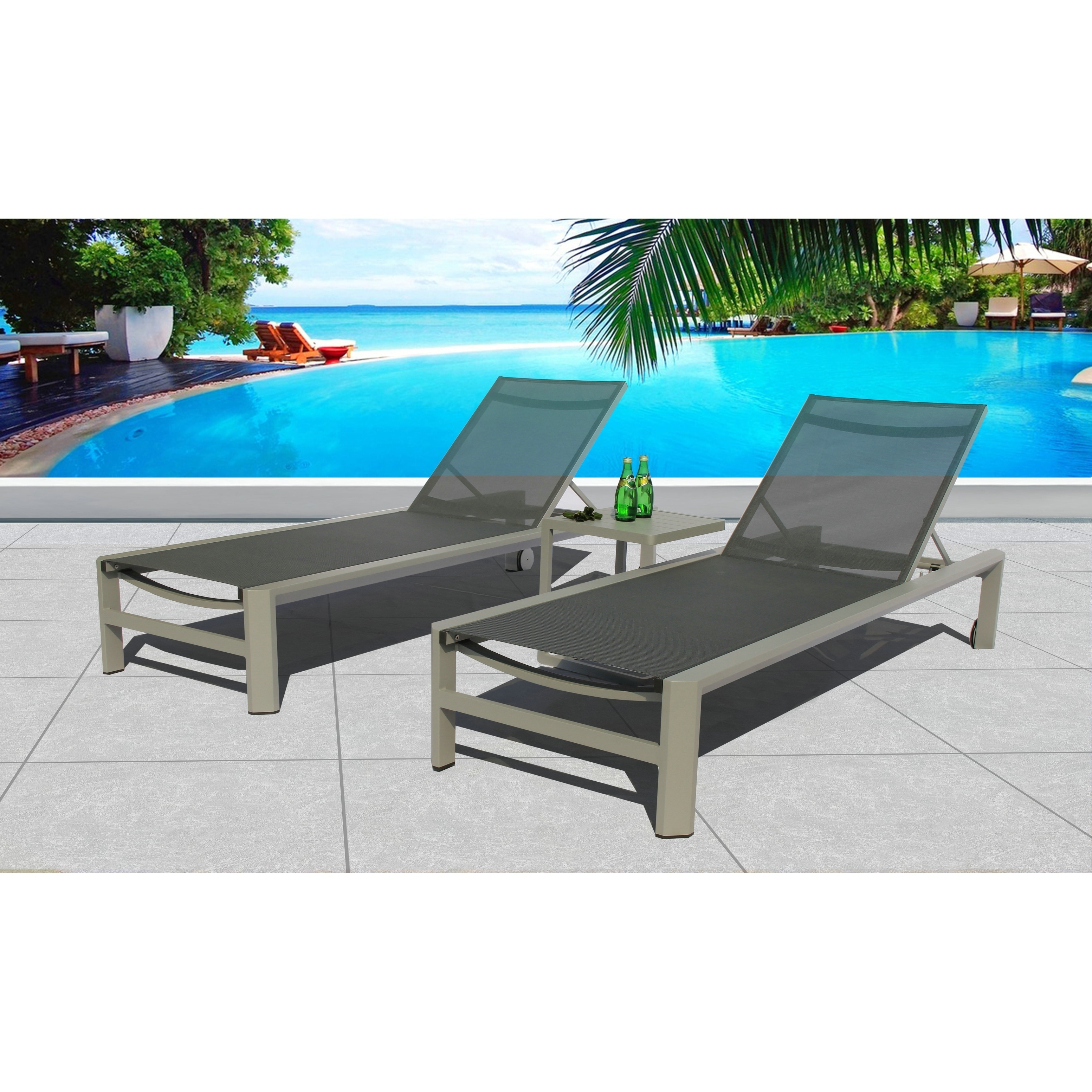 Coast 3 Pc Chaise Lounge Set – Fabric Pewter – N/a, Grey Inside Recent Shore Alumunium Outdoor 3 Piece Chaise Lounger Sets (View 3 of 25)