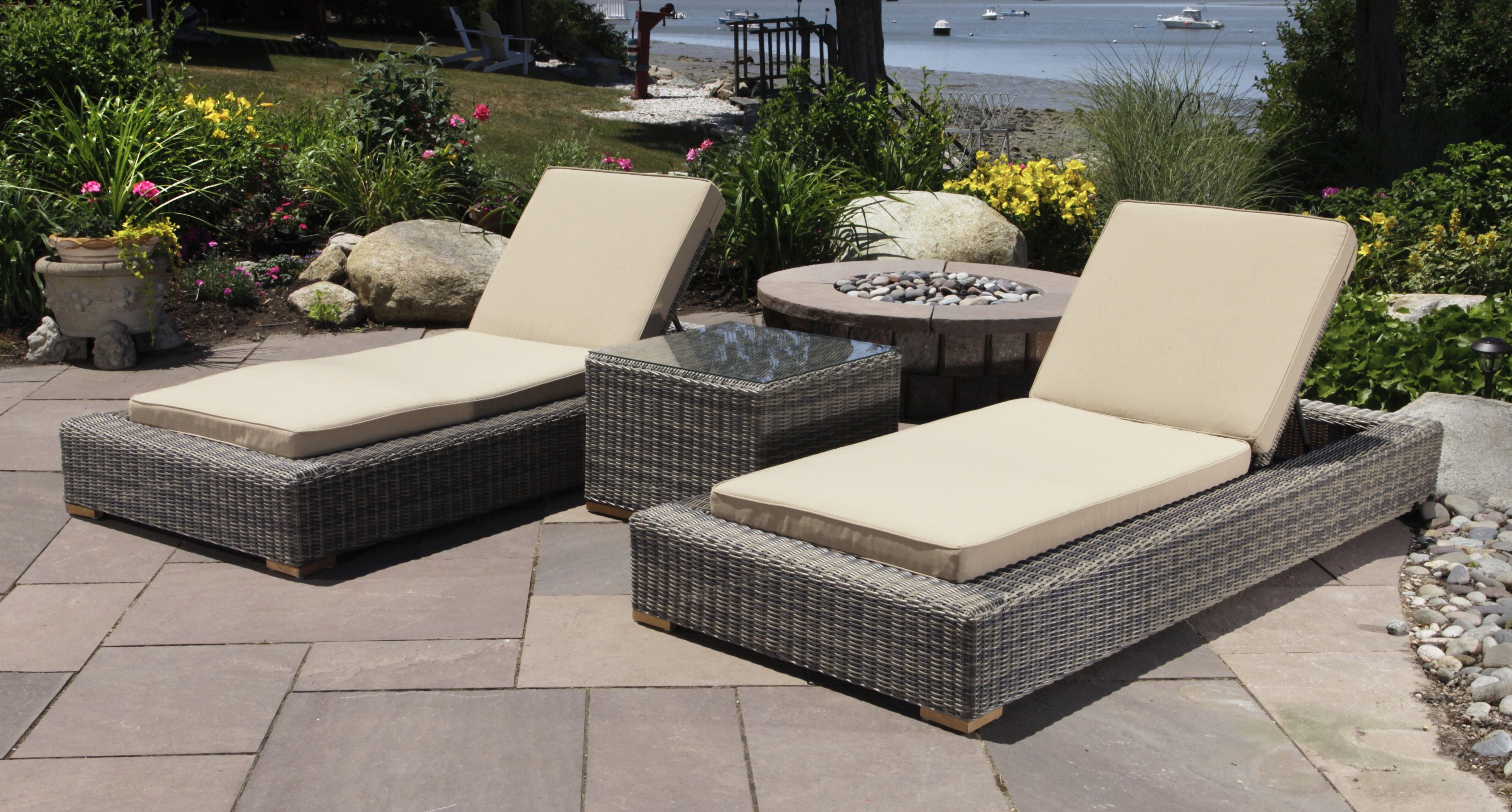 Corsica 3 Piece Chaise Lounge Set With Cushions And Table With 2019 Outdoor 3 Piece Wicker Chaise Lounges And Table Sets (View 2 of 25)