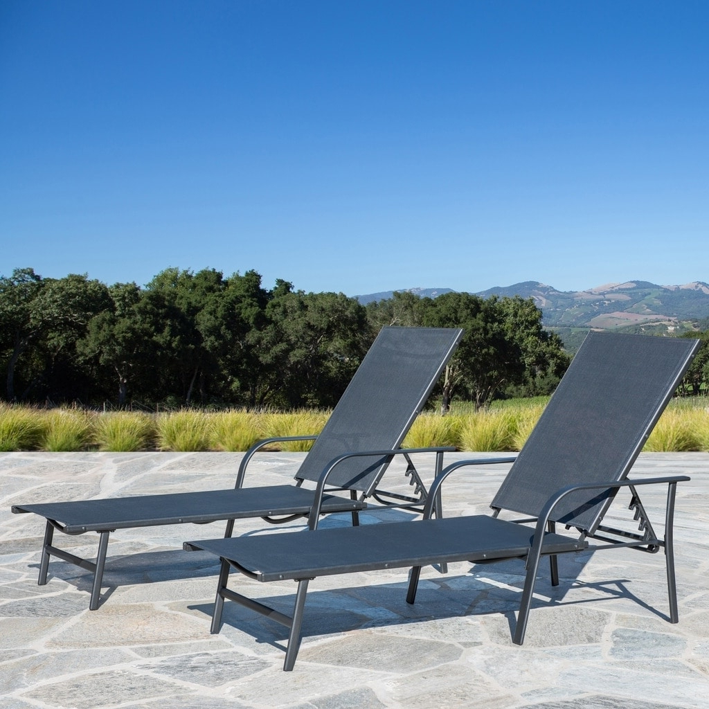 Corvus Antonio Outdoor Black Sling Fabric Adjustable Chaise Lounge For Most Recent Black Sling Fabric Adjustable Chaise Lounges (View 17 of 25)