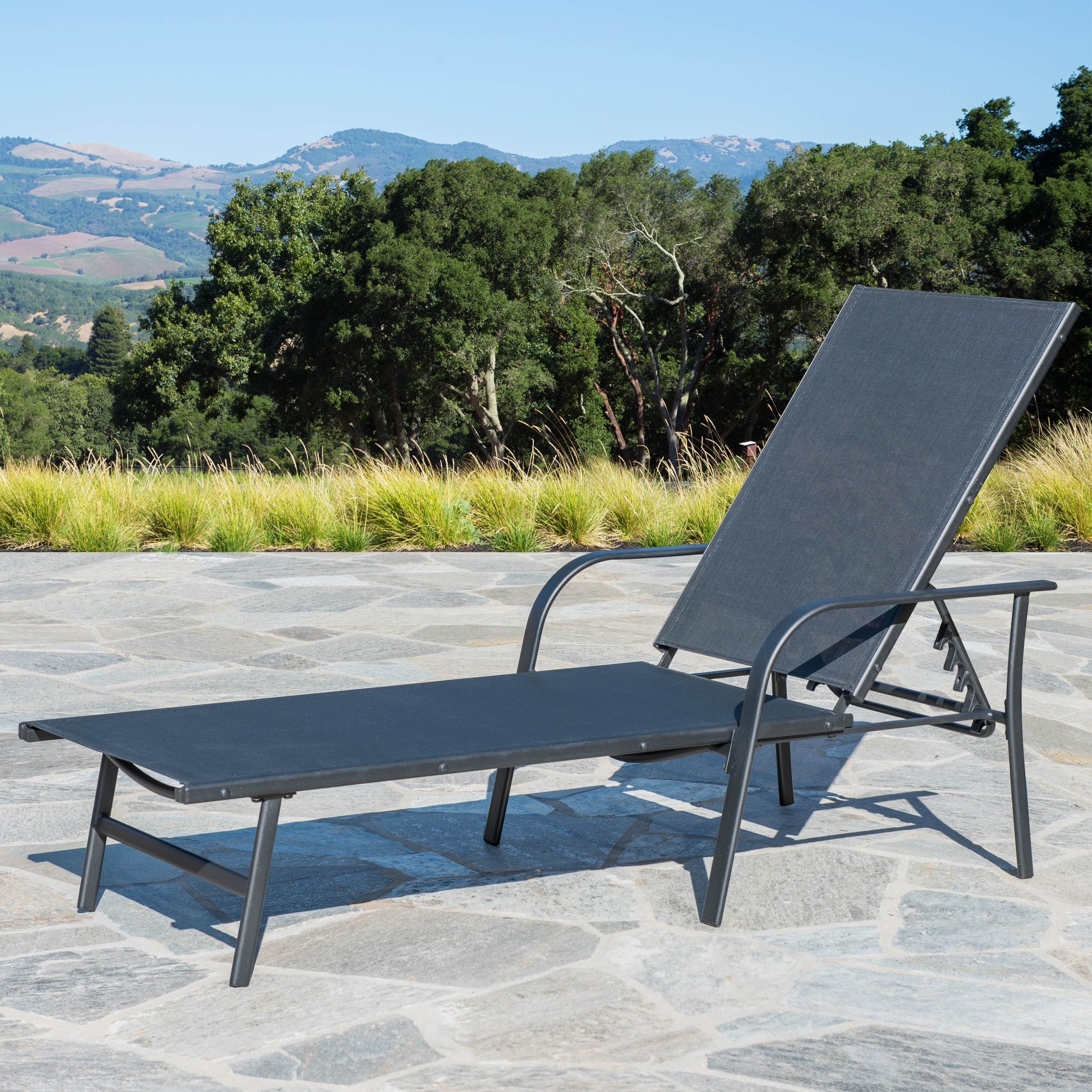 Corvus Antonio Outdoor Black Sling Fabric Adjustable Chaise Lounge Regarding Best And Newest Antonio Sling Fabric Adjustable Outdoor Chaise Lounges (View 17 of 25)