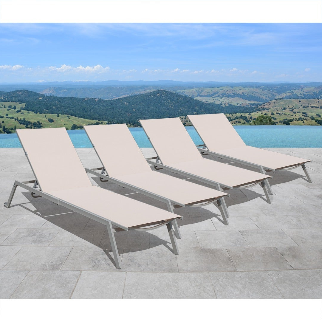 Corvus Torino Sling Fabric Reclining Outdoor Chaise Lounges (set Of 4) Regarding Most Recent Adjustable Sling Fabric Patio Chaise Lounges (View 17 of 25)