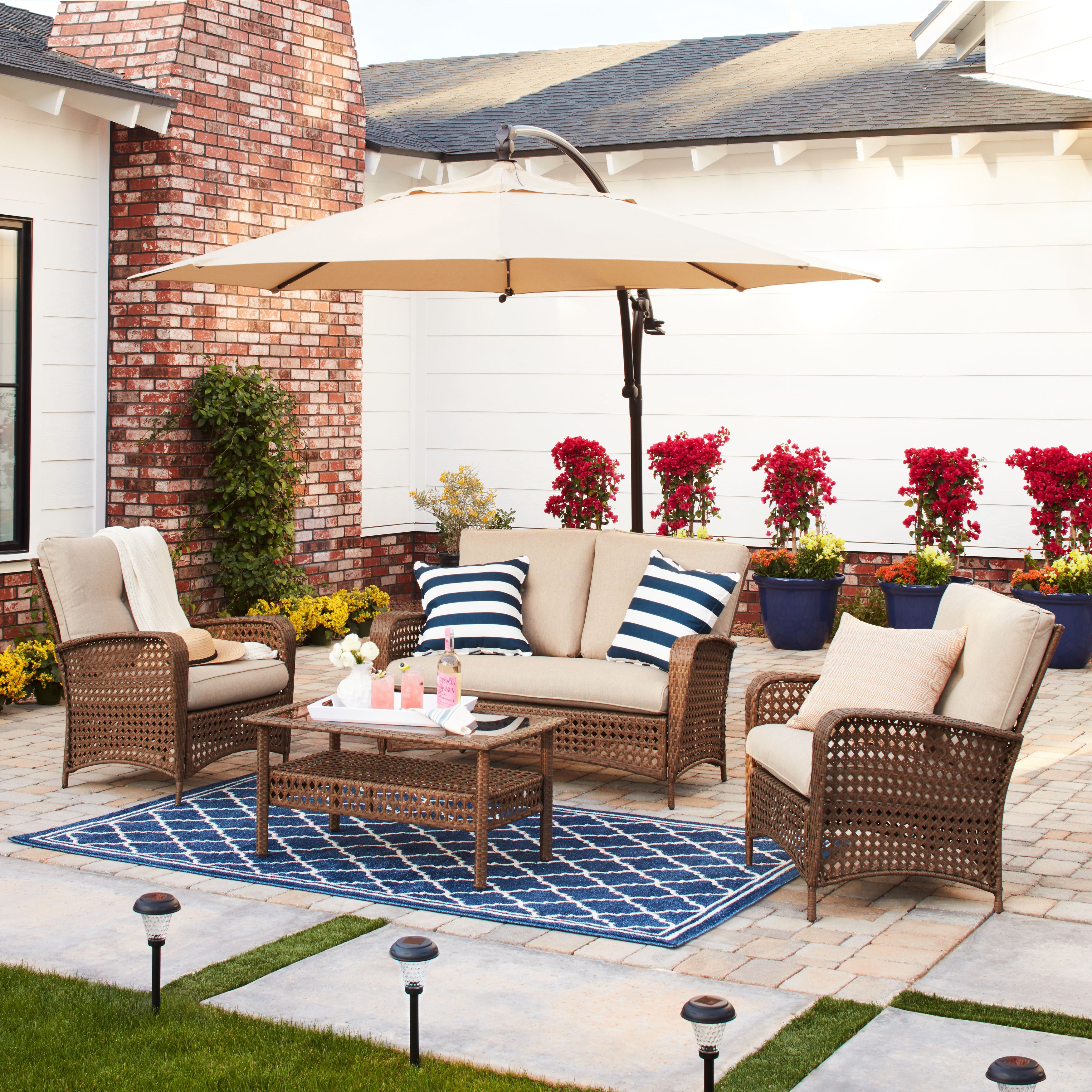 Cosco Outdoor Steel Woven Wicker Chaise Lounge Chairs In Preferred Cosco Outdoor Steel Woven Wicker Patio Conversation Set With Coffee Table (View 14 of 25)