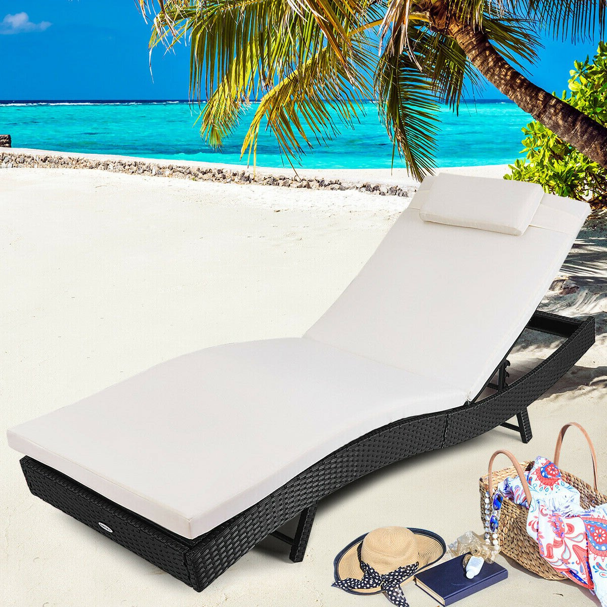 Costway Adjustable Pool Chaise Lounge Chair Outdoor Patio Furniture Pe  Wicker W/cushion Within Most Popular White Wicker Adjustable Chaise Loungers With Cushions (View 4 of 25)