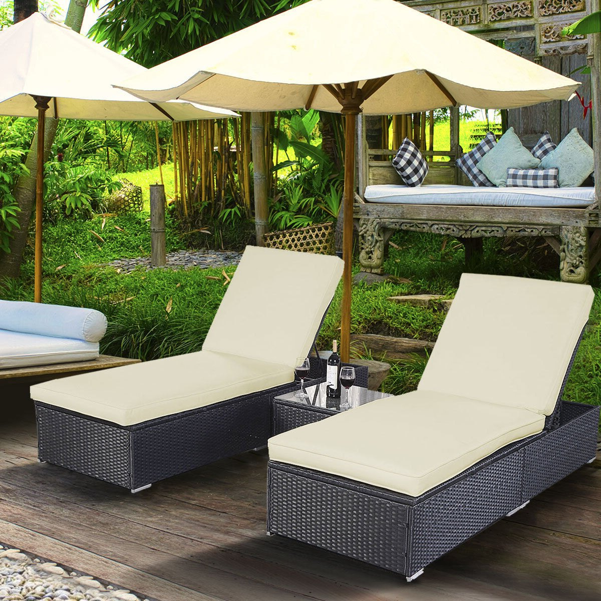 Costway: Costway 3 Piece Wicker Rattan Chaise Lounge Chair Set Patio Steel  Furniture Black Wicker (View 3 of 25)