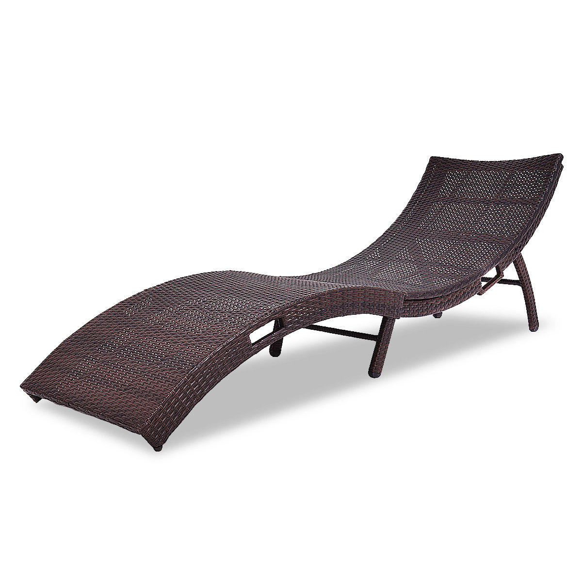 Costway Mix Brown Folding Patio Rattan Chaise Lounge Chair Outdoor  Furniture Pool Side For Most Recently Released Brown Folding Patio Chaise Lounger Chairs (View 10 of 25)