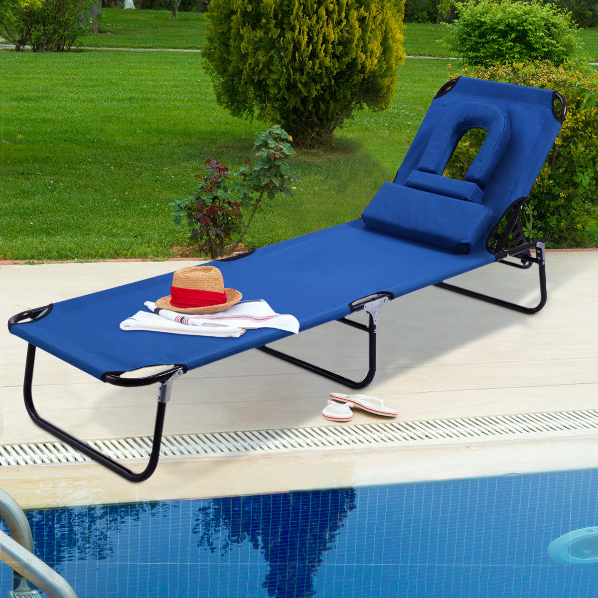 Costway Patio Foldable Chaise Lounge Chair Bed Outdoor Beach Camping  Recliner Pool Yard For Well Liked Outdoor Yard Pool Recliner Folding Lounge Table Chairs (View 3 of 25)