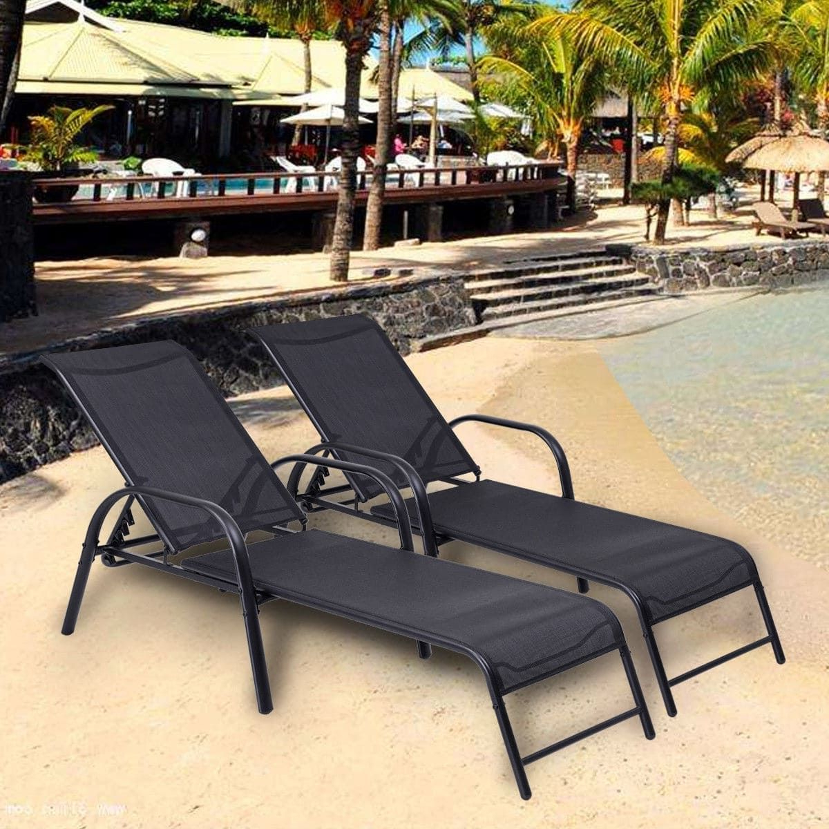 Costway Set Of 2 Patio Lounge Chairs Sling Chaise Lounges In Widely Used Adjustable Sling Fabric Patio Chaise Lounges (View 16 of 25)
