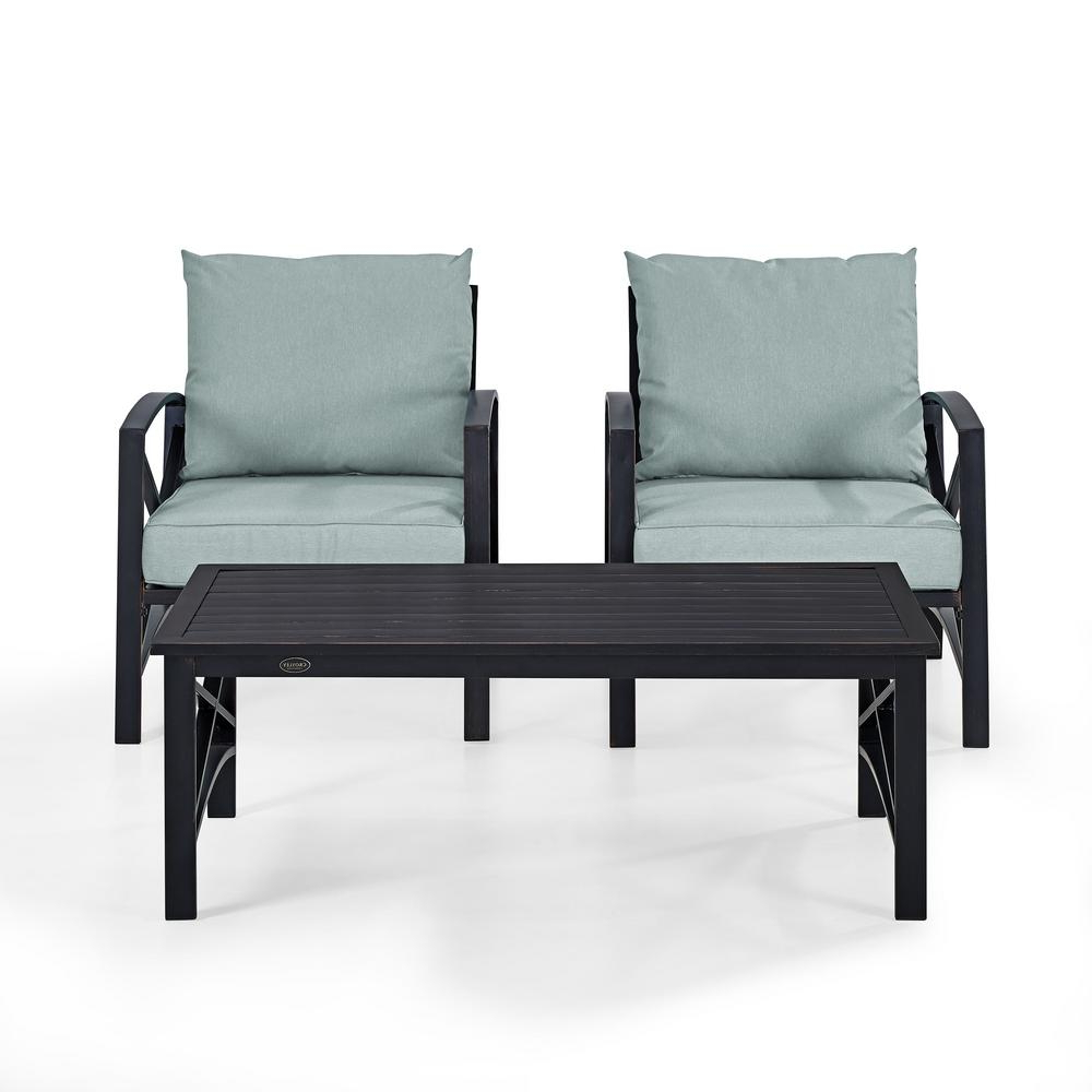 Crosley Kaplan 3 Piece Metal Patio Outdoor Seating Set With Mist Cushion –  2 Outdoor Chairs, Coffee Table Within Recent Chaise Lounge Chairs In Bronze With Mist Cushions (View 21 of 25)