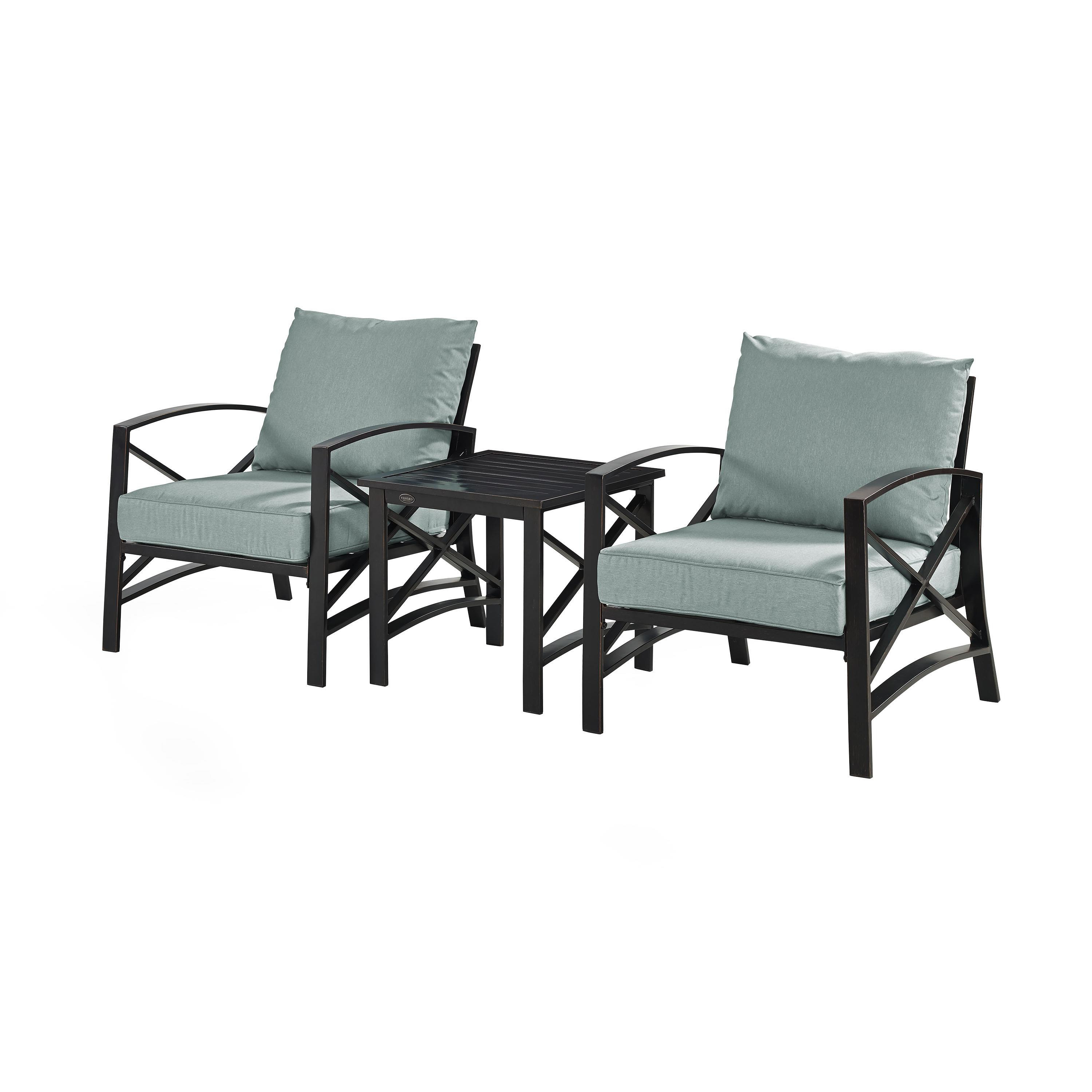 Crosley Kaplan 3 Piece Outdoor Seating Set – Oil Rubbed Bronze/mist Cushion 2 Chairs/side Table With Regard To Latest Chaise Lounge Chairs In Bronze With Mist Cushions (View 12 of 25)