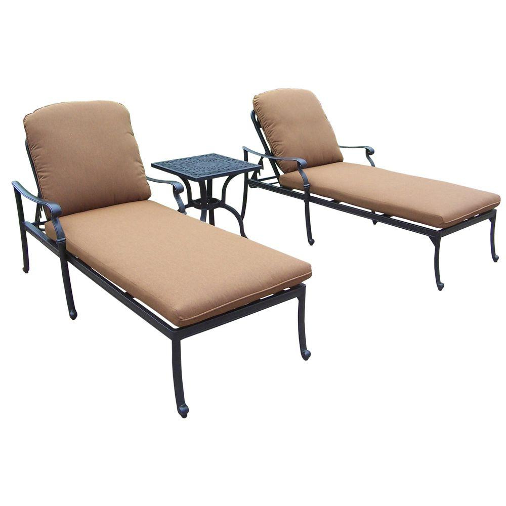 Current 3 Piece Patio Lounger Sets For Oakland Living Cast Aluminum 3 Piece Patio Chaise Lounge Set With Sunbrella  Cushions (View 10 of 25)