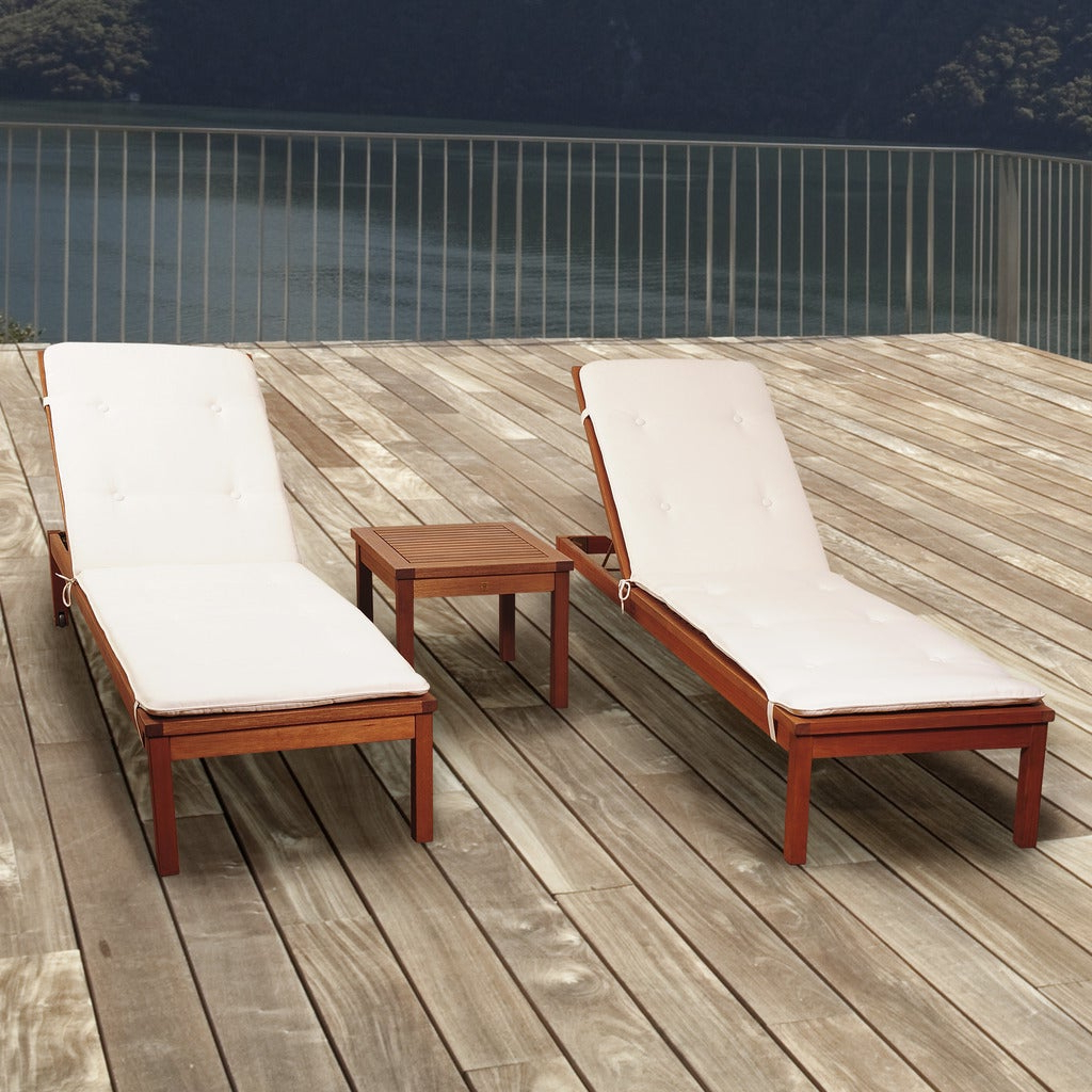 Featured Photo of Amazonia Pacific 3 Piece Wheel Lounger Sets With White Cushions