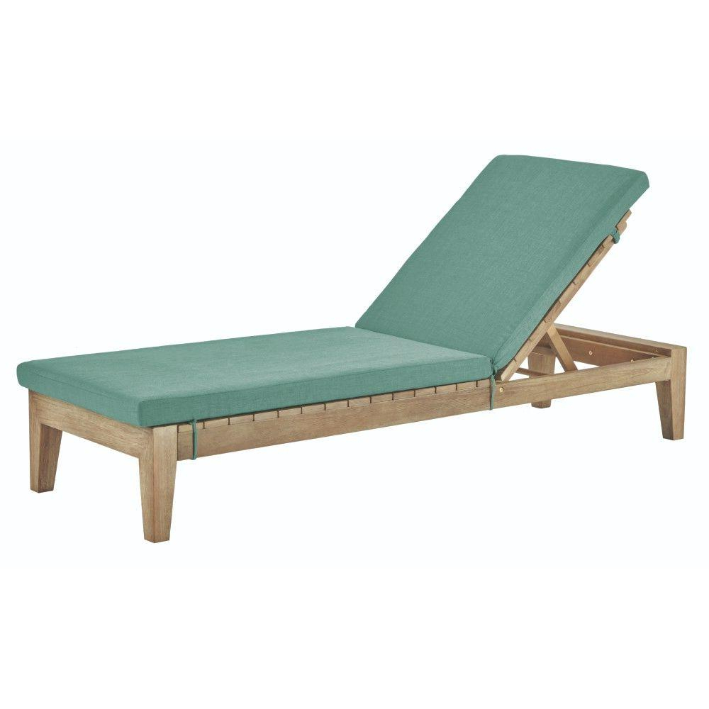 Current Home Decorators Collection Bermuda Distressed Grey All Weather Patio Chaise With Spa Blue Fabric Cushions Intended For Lattice Outdoor Patio Pool Chaise Lounges With Wheels And Cushion (View 20 of 25)