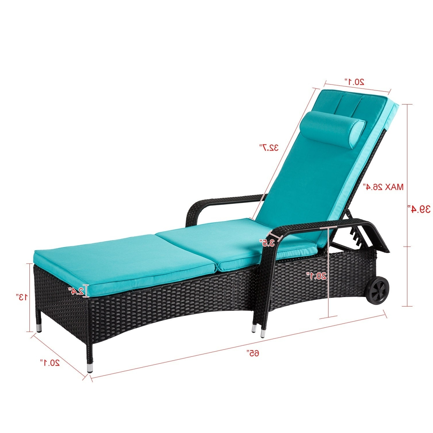 Current Kinbor Outdoor Adjustable Wicker Chaise Lounge Chair Reclining Chaise Chair  Patio Furniture W/cushions Intended For Outdoor Adjustable Reclining Wicker Chaise Lounges (View 4 of 25)