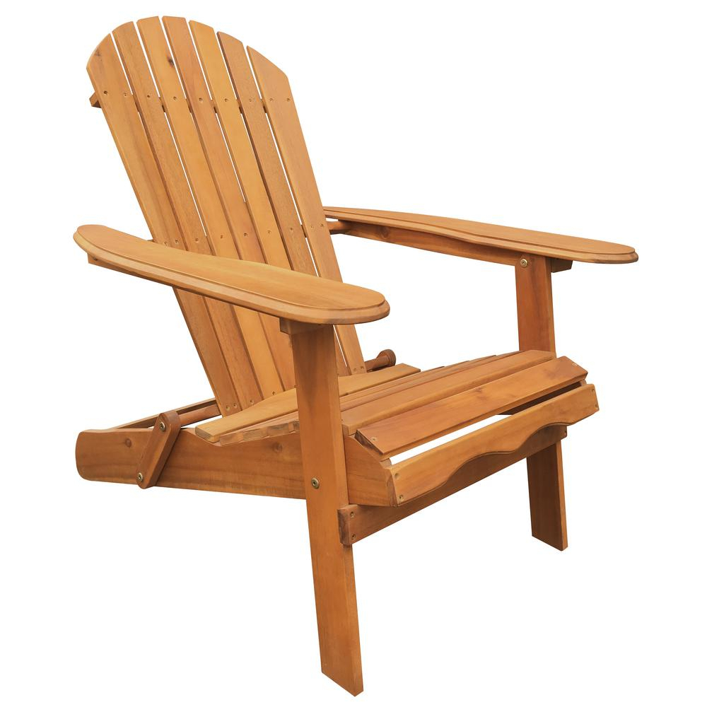 Current Leigh Country Natural Folding Adirondack Chair Intended For Adirondack Chairs With Footrest (View 13 of 25)