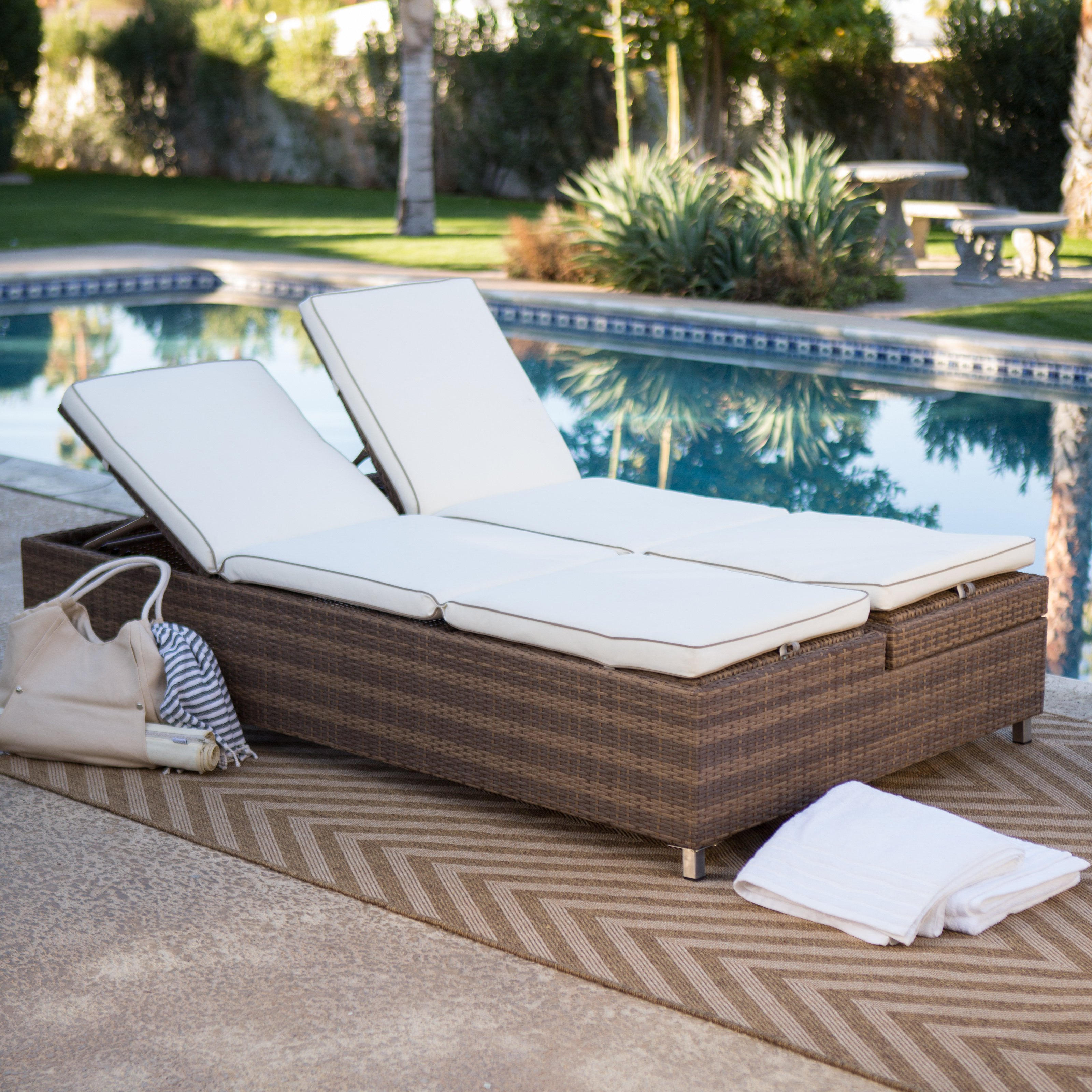 Current Licious Mainstays Outdoor Double Chaise Lounger Replacement Regarding All Weather Rattan Wicker Chaise Lounges (View 13 of 25)