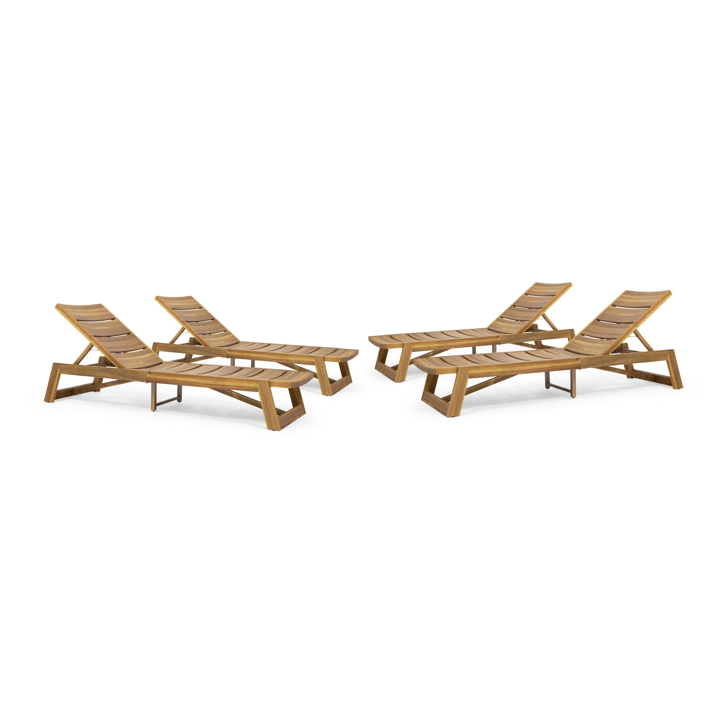 Current Maki Outdoor Wood Chaise Lounges With Regard To Maki Outdoor Acacia Wood Chaise Lounge (Set Of 4)Christopher Knight Home (View 6 of 25)