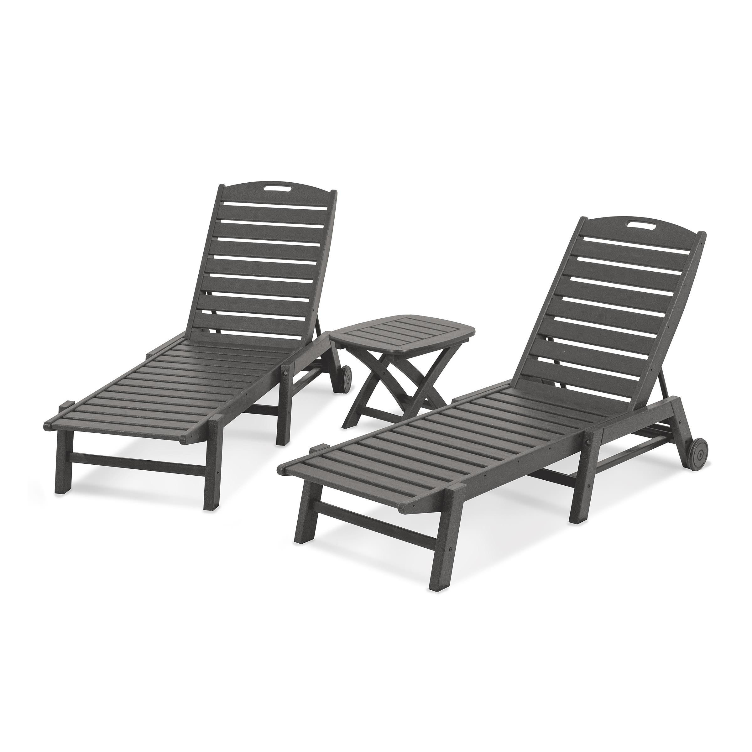Current Nautical 3 Piece Outdoor Chaise Lounge Sets With Table Intended For Polywood® Nautical 3 Piece Armless Chaise Set (View 7 of 25)