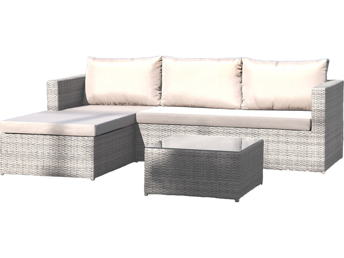 Current Outdoor 3 Piece Chaise Lounger Sets With Table Inside Hospitality Rattan Outdoor Athens Whitewash Woven 3 Piece Sectional Lounge Set With Cushions (View 23 of 25)