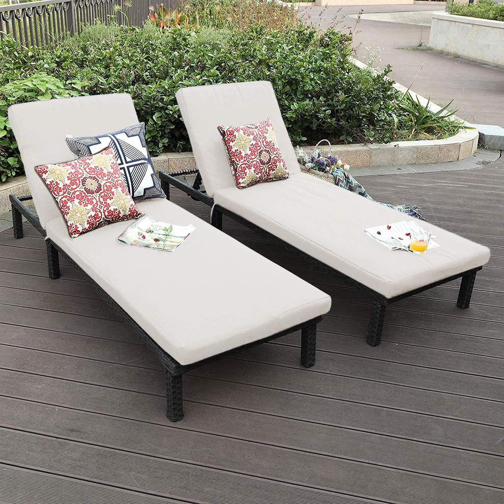 Current Outdoor Adjustable Rattan Wicker Chaise Pool Chairs With Cushions Throughout Oakville Outdoor Patio Rattan Wicker Chaise Lounge Chair, Set Of (View 6 of 25)