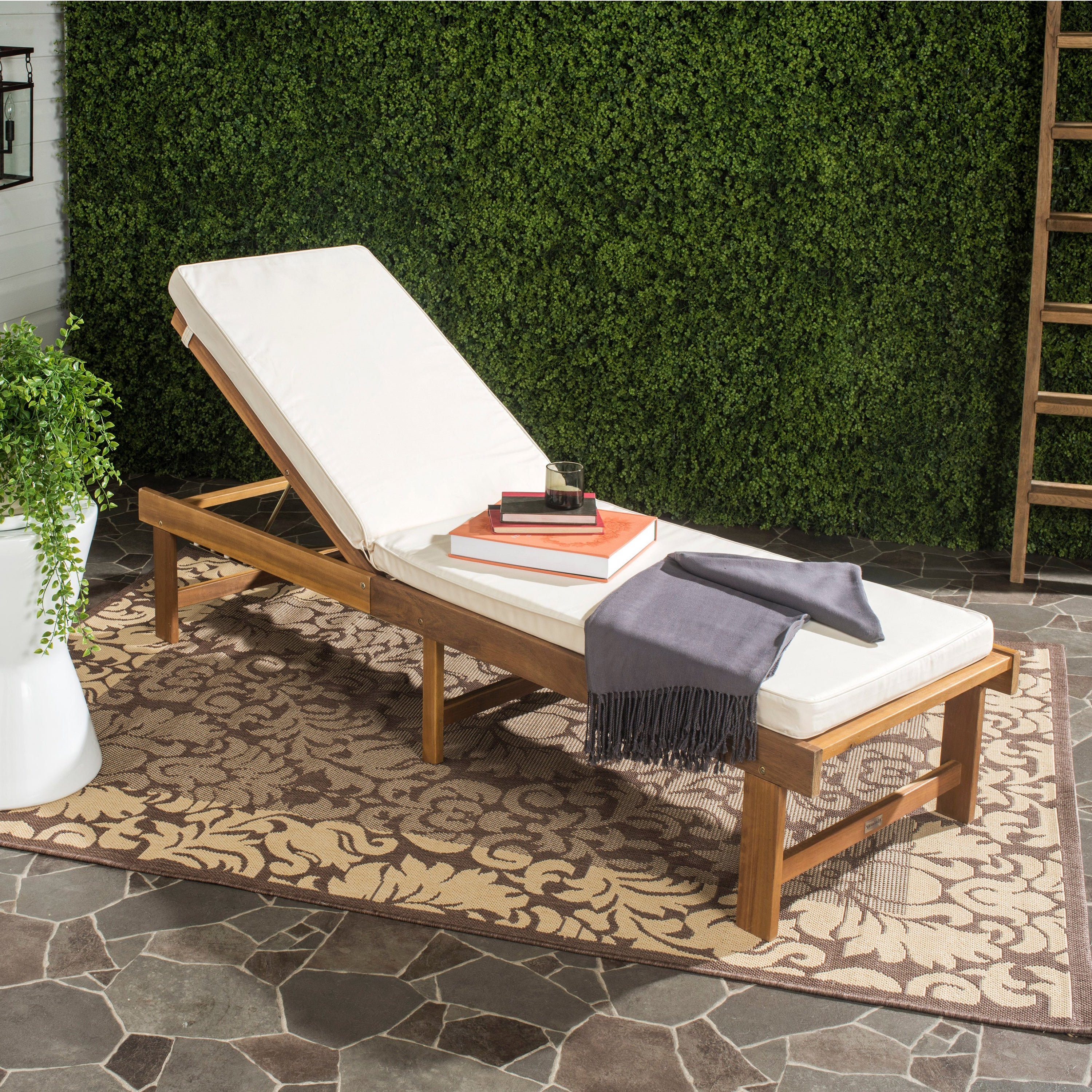 Featured Photo of Outdoor Living Inglewood Brown Acacia Wood Beige Cushion Lounge Chairs