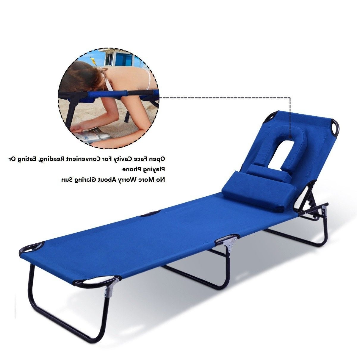 Current Outdoor Yard Pool Recliner Folding Lounge Table Chairs For Costway Patio Foldable Chaise Lounge Chair Bed Outdoor Beach Camping  Recliner Pool Yard (View 4 of 25)