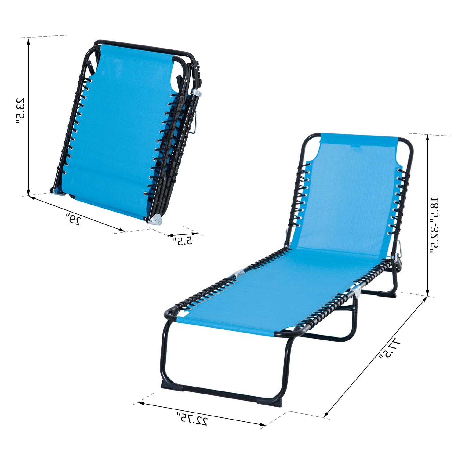 Current Outsunny Portable 3 Position Reclining Folding Beach Chaise Lounge Chair With 3 Position Portable Reclining Beach Chaise Lounges (View 4 of 25)