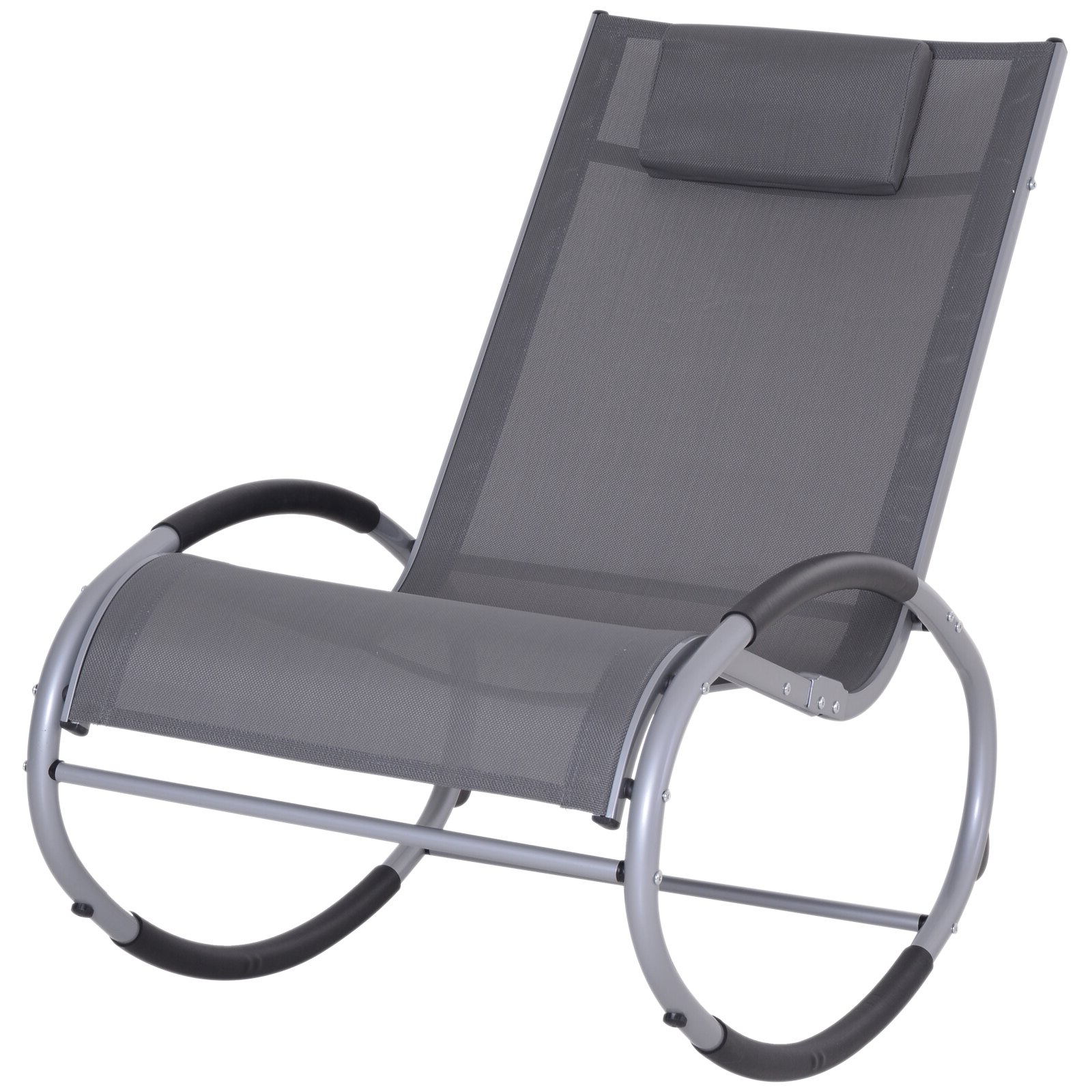 Current Outsunny Zero Gravity Rocking Chaise Lounge Sling Reclining Chair – Grey In Reclining Sling Chaise Lounges (View 4 of 25)