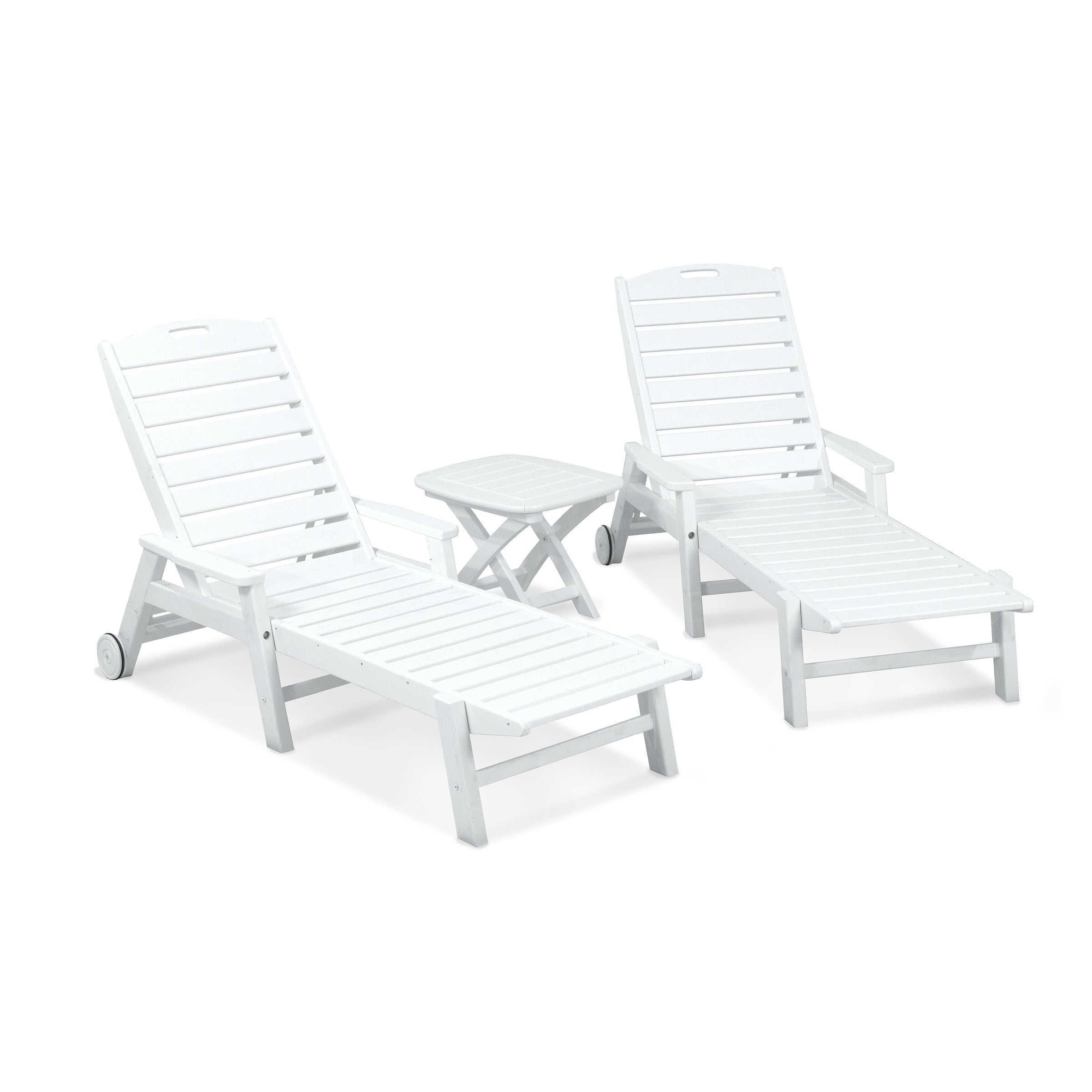 Current Polywood® Nautical 3 Piece Outdoor Chaise Lounge Set With Wheels And Table For Nautical 3 Piece Outdoor Chaise Lounge Sets With Wheels And Table (View 2 of 25)