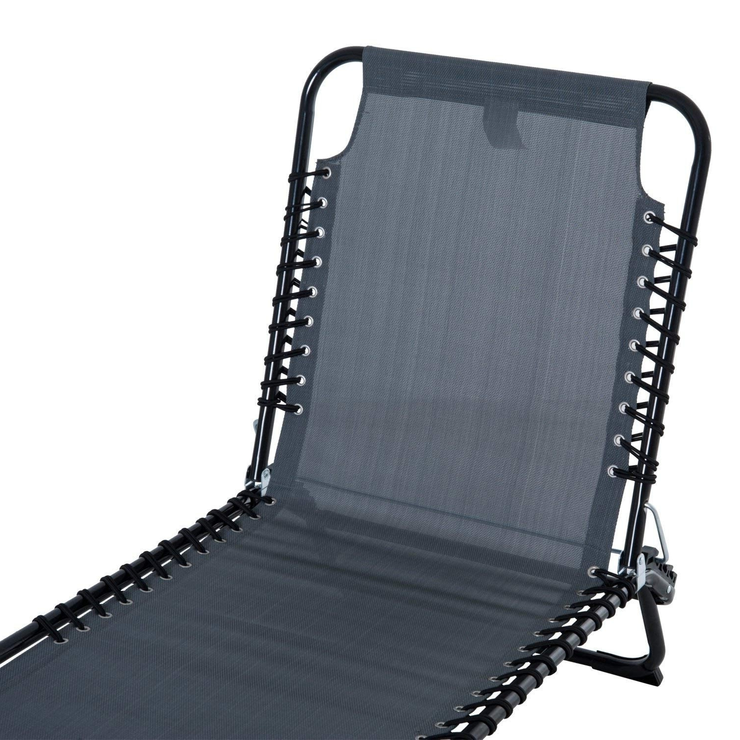 Current Portable Reclining Beach Chaise Lounge Folding Chairs Within Outsunny 3 Position Portable Reclining Beach Chaise Lounge Folding Chair Outdoor Patio – Grey (View 11 of 25)