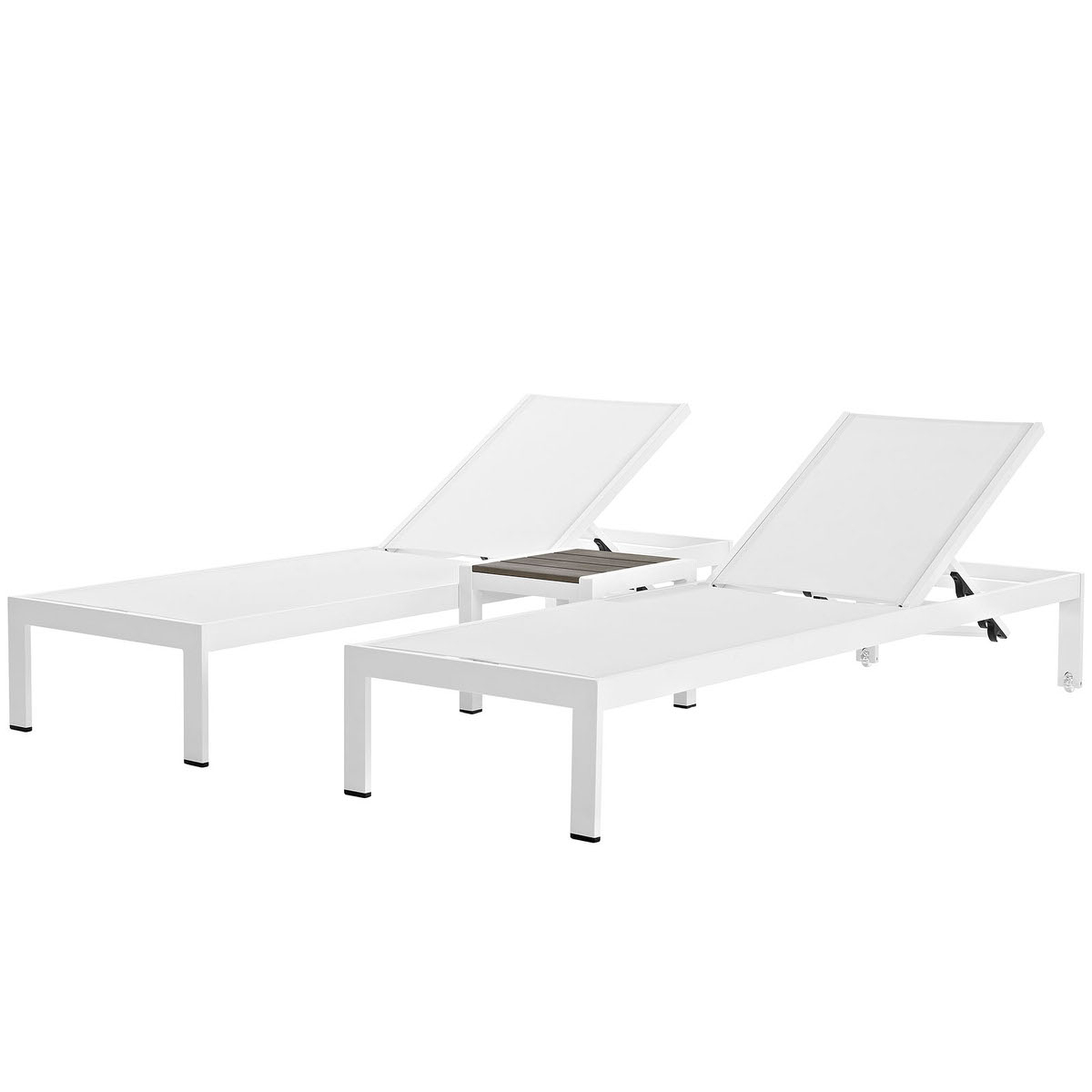 Current Shore Alumunium Outdoor 3 Piece Chaise Lounger Sets In Shore 3 Piece Outdoor Patio Aluminum Set White Whitemodway (View 4 of 25)