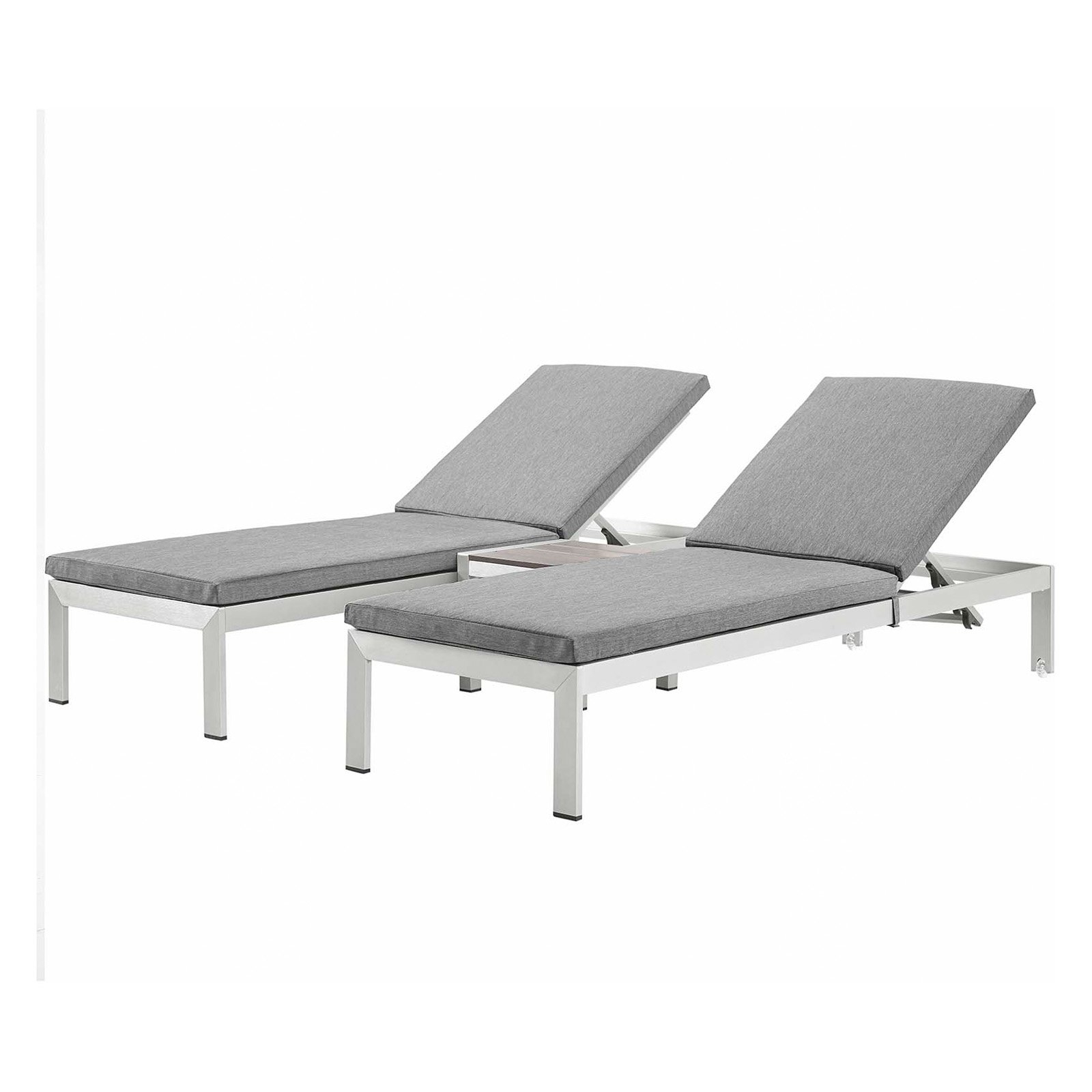 Current Shore Alumunium Outdoor 3 Piece Chaise Lounger Sets With Regard To Modway Shore 3 Piece Aluminum Outdoor Patio Chaise Lounge (View 5 of 25)