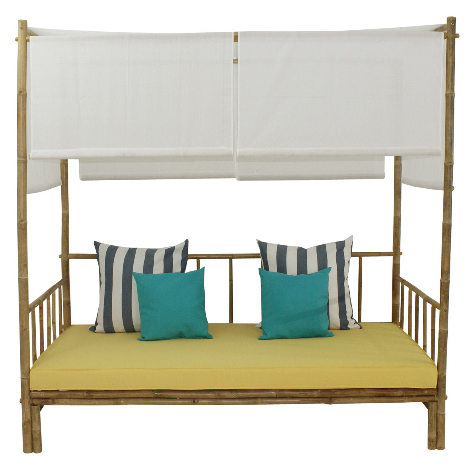 Current Statra Bamboo Daybed With Canopy Mattress And Throw Pillows For Bamboo Daybeds With Canopy (View 11 of 25)