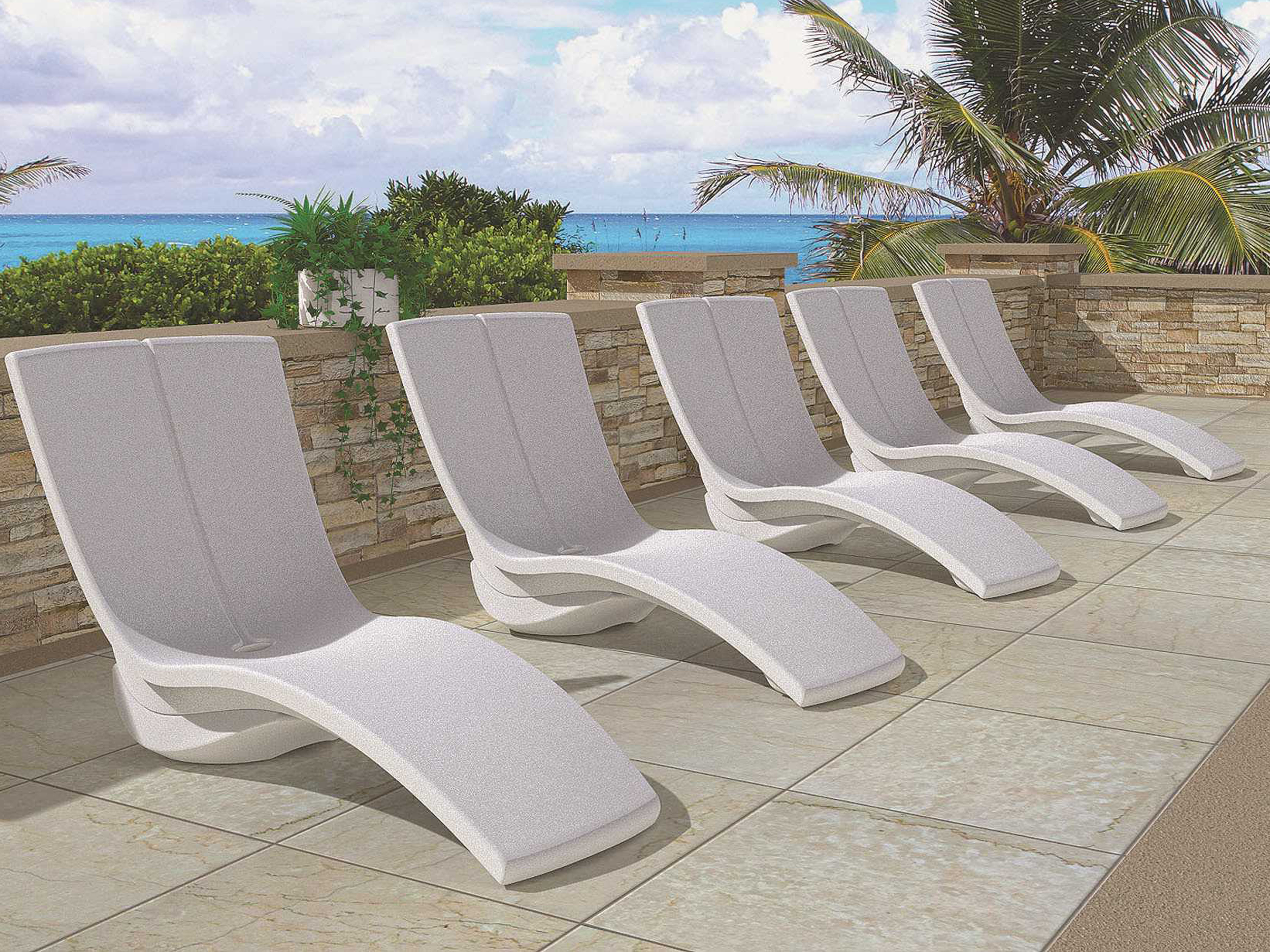 Curved Folding Chaise Loungers Intended For Famous Tropitone Curve Recycled Plastic Lounge Set (View 25 of 25)