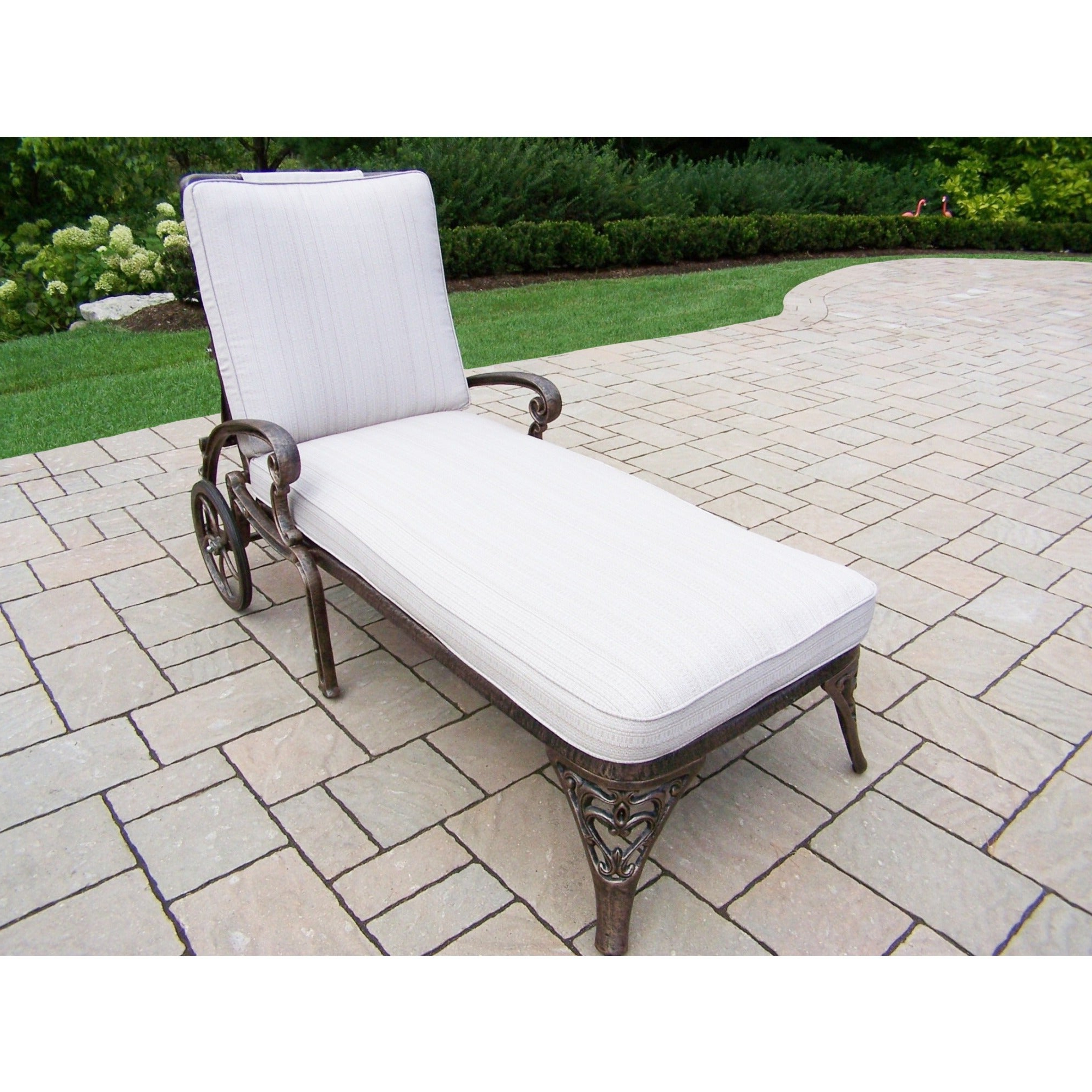 Dakota Cushioned Cast Aluminum Chaise Lounge With Wheels Within Widely Used Lattice Outdoor Patio Pool Chaise Lounges With Wheels And Cushion (View 8 of 25)
