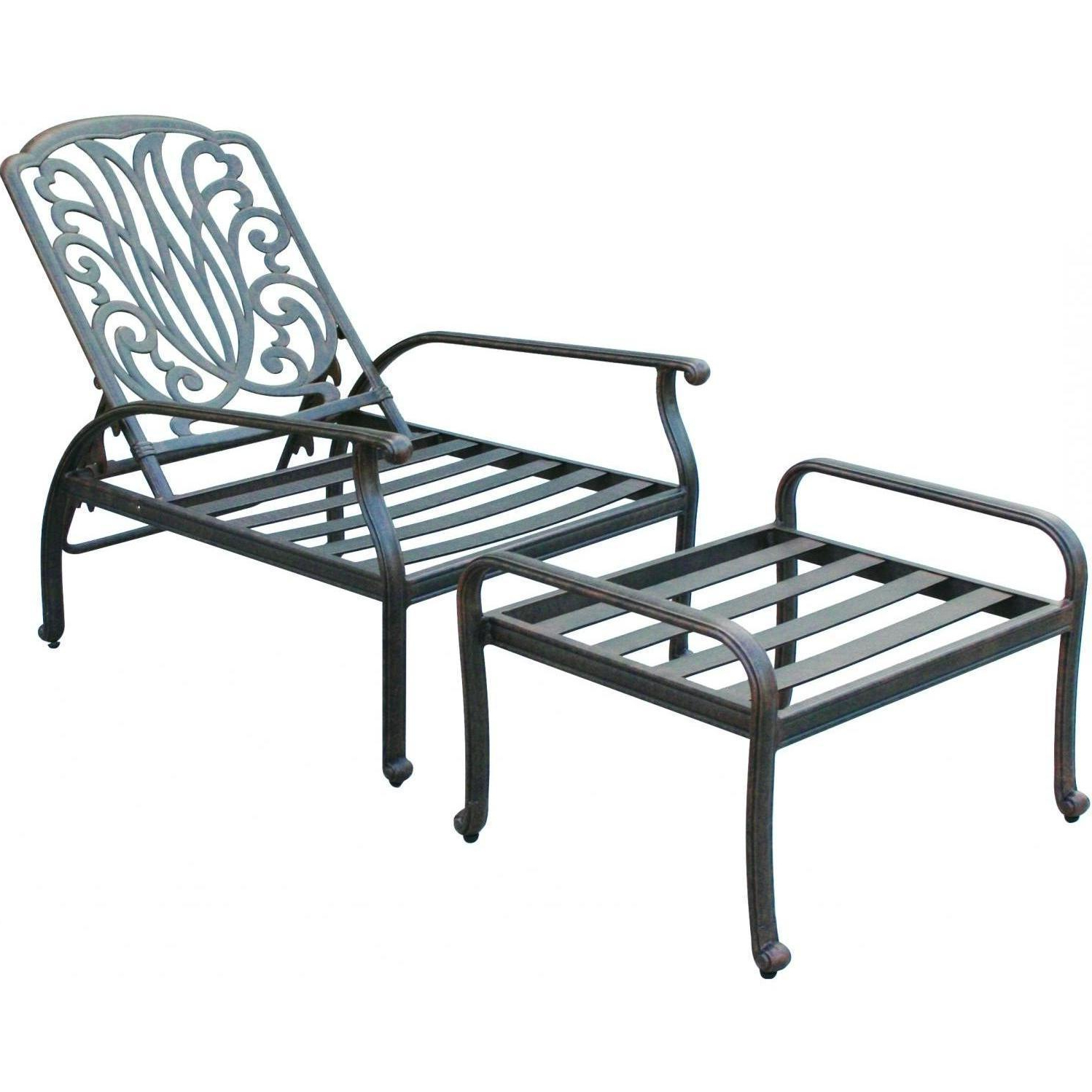 Darlee Elisabeth Cast Aluminum Patio Reclining Club Chair With Well Liked Outdoor Patio Lounge Chairs With Ottoman (View 10 of 25)