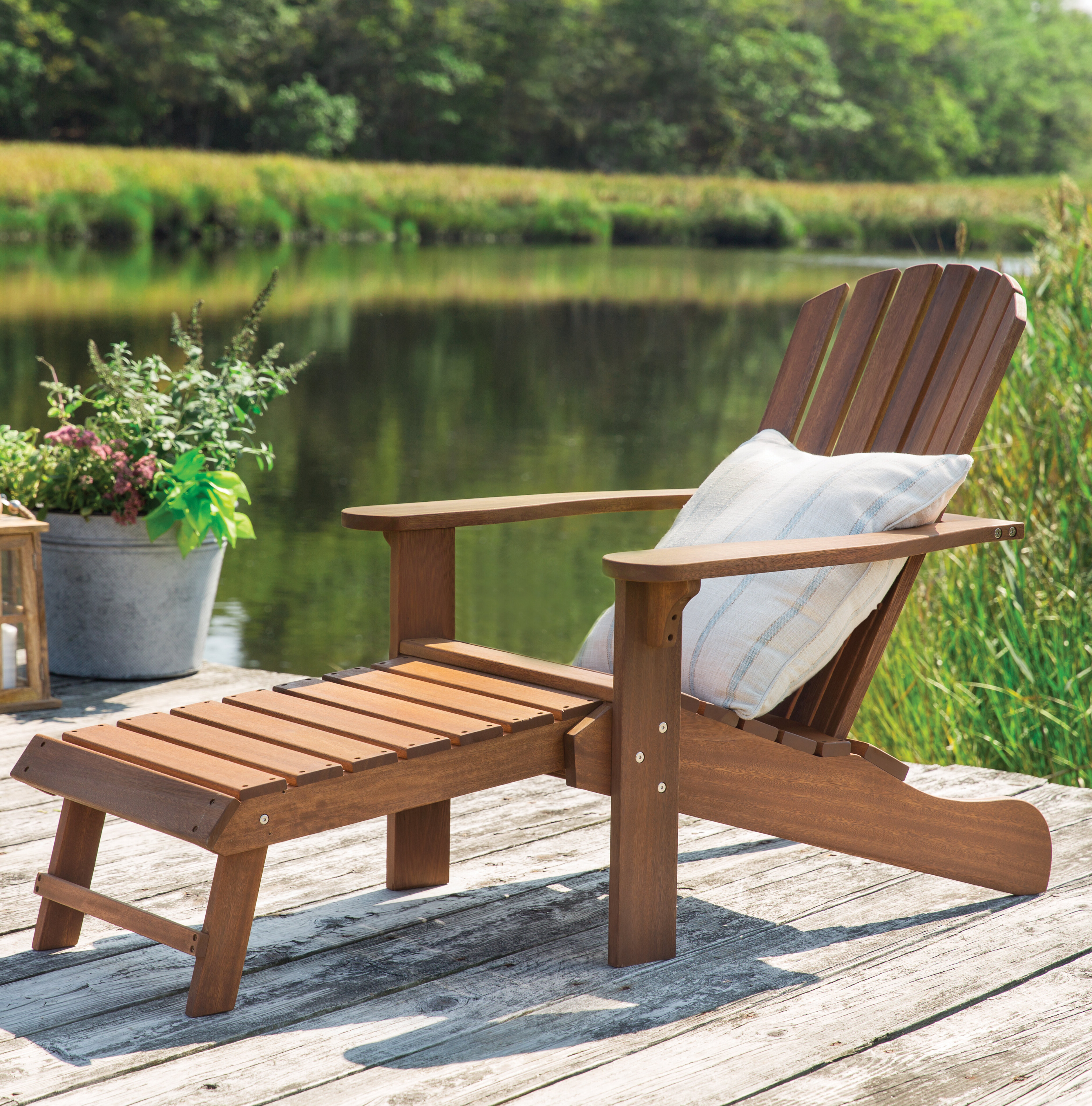 Delatorre Wood Adirondack Chair With Ottoman For Latest Mahogany Adirondack Chairs With Ottoman (View 2 of 25)
