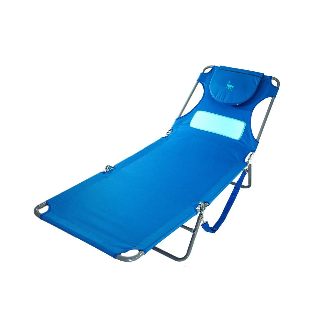 Deltess Ostrich Ladies Blue Aluminum Folding Beach Chair With Most Recently Released Portable Reclining Beach Chaise Lounge Folding Chairs (View 21 of 25)