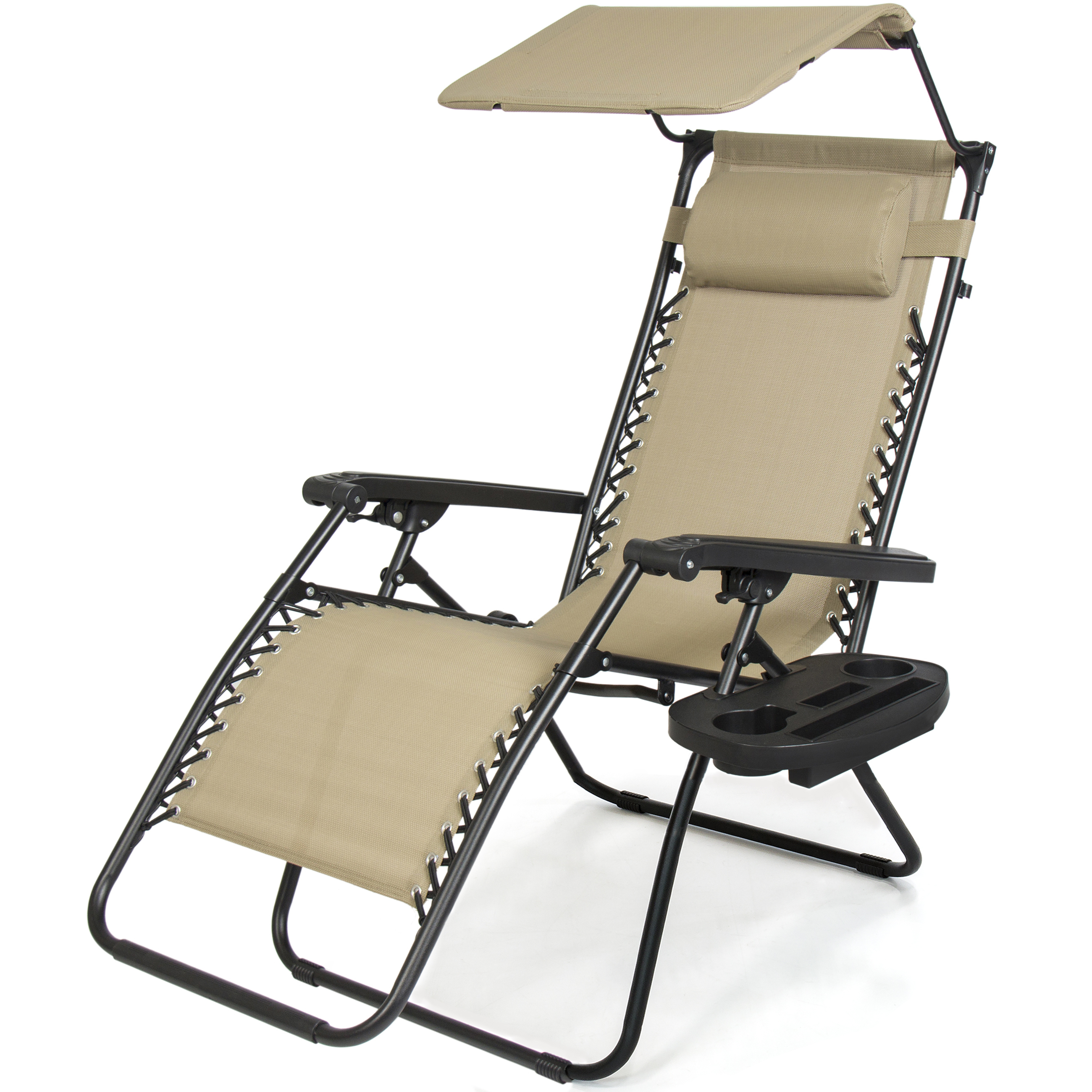 Deluxe Padded Chairs With Canopy And Tray Regarding Trendy Best Choice Products Folding Steel Mesh Zero Gravity Recliner Lounge Chair  W/ Adjustable Canopy Shade And Cup Holder Accessory Tray, Beige – (View 8 of 25)