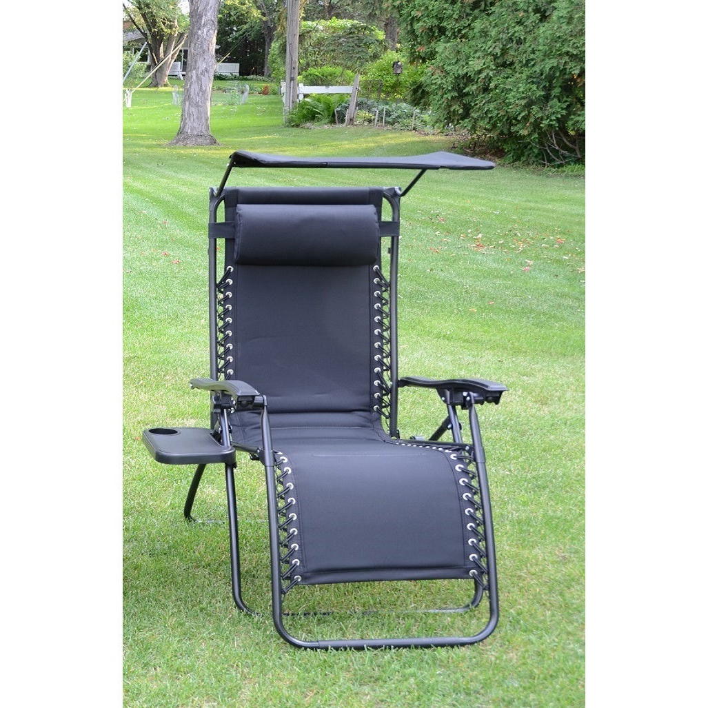 Deluxe Padded Chairs With Canopy And Tray With Regard To Well Known Styled Shopping Deluxe Padded Zero Gravity Chair With Canopy And Tray (View 10 of 25)