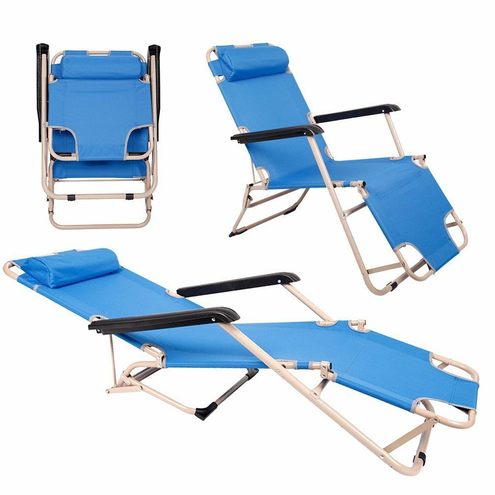 Details About 2 Pcs Adjustable Lounge Chair Outdoor Folding Beach Chair  Camping Recliner Intended For Widely Used Foldable Camping And Lounge Chairs (View 5 of 25)