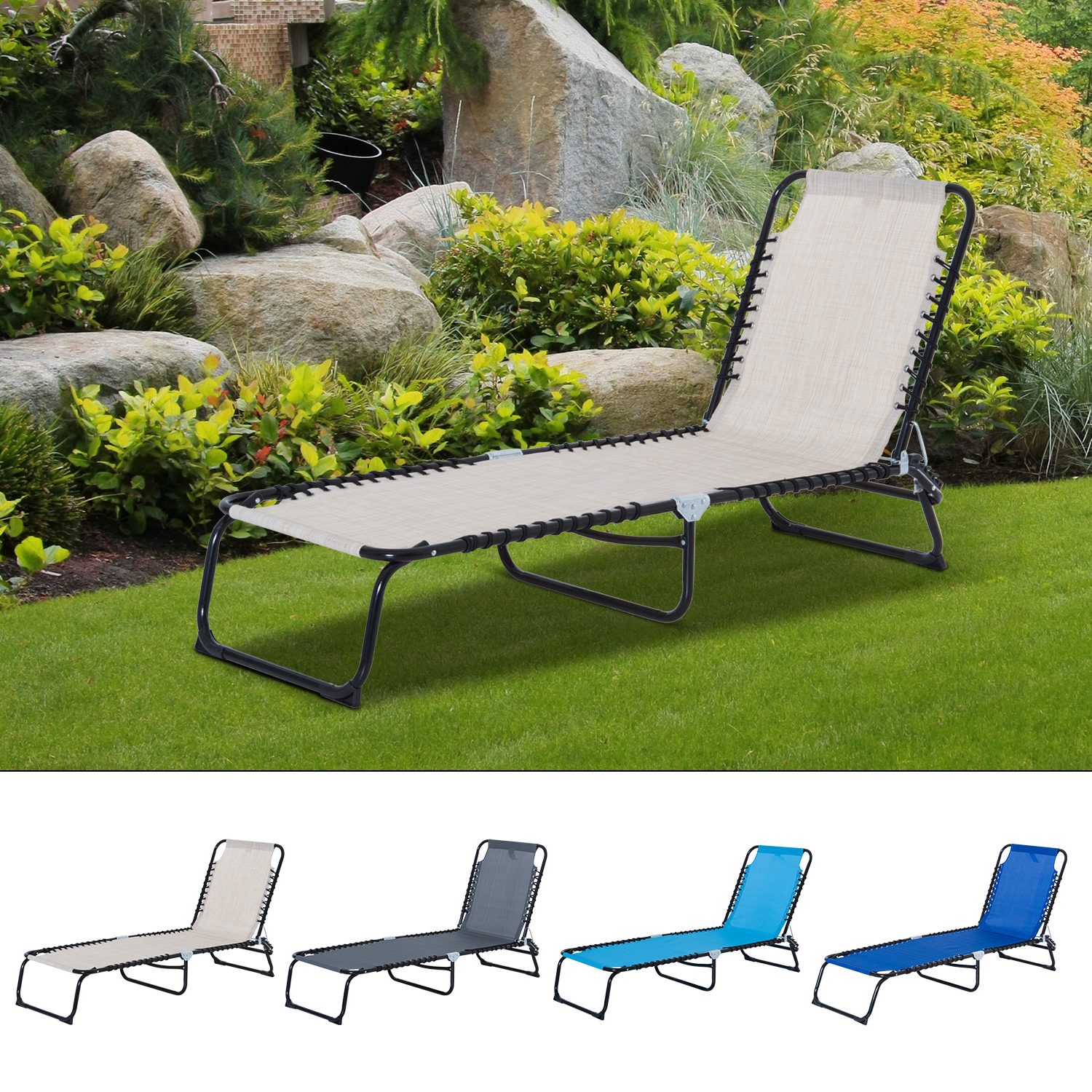Details About 3 Position Portable Reclining Beach Chaise Lounge Adjustable Sleeping Bed Pertaining To Most Up To Date 3 Position Portable Reclining Beach Chaise Lounges (View 7 of 25)