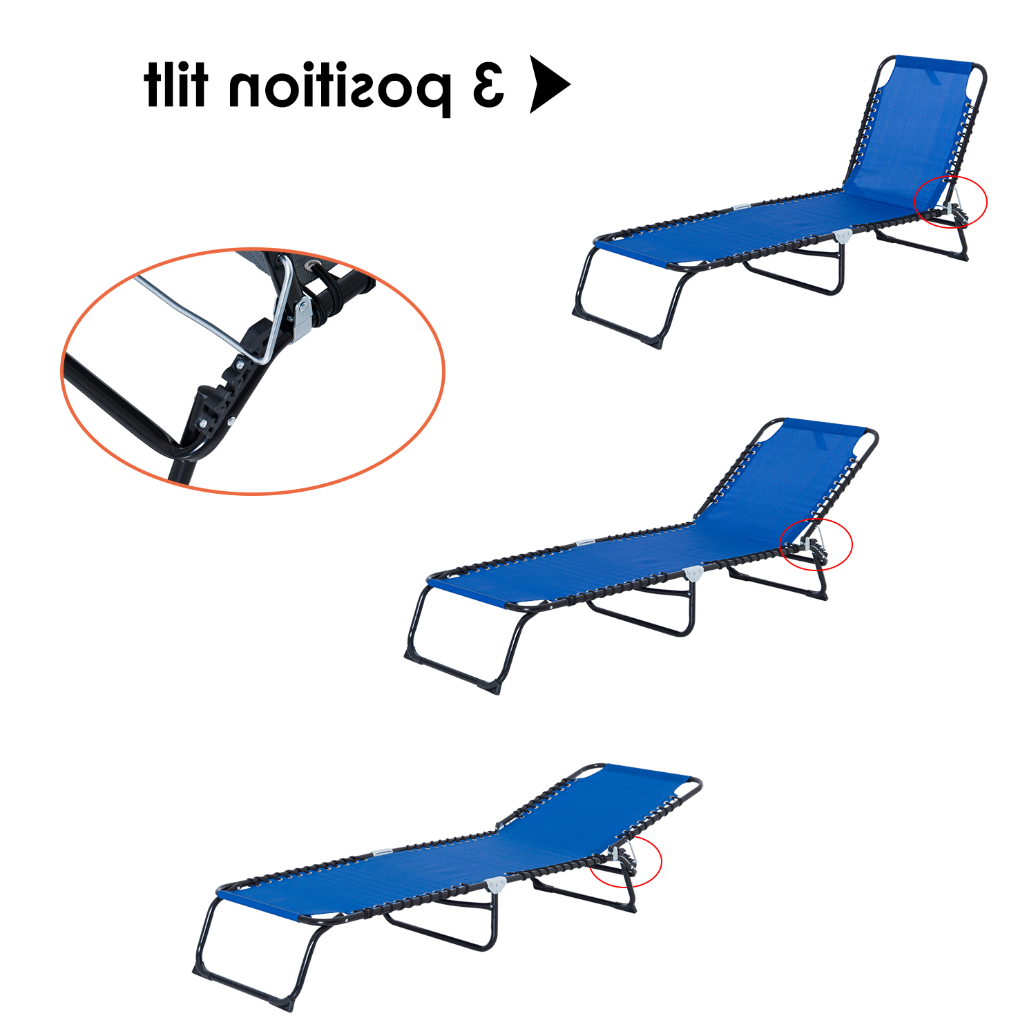 Details About 3 Position Portable Reclining Beach Chaise Lounge Adjustable Sleeping Bed Within Most Recently Released 3 Position Portable Reclining Beach Chaise Lounges (View 25 of 25)