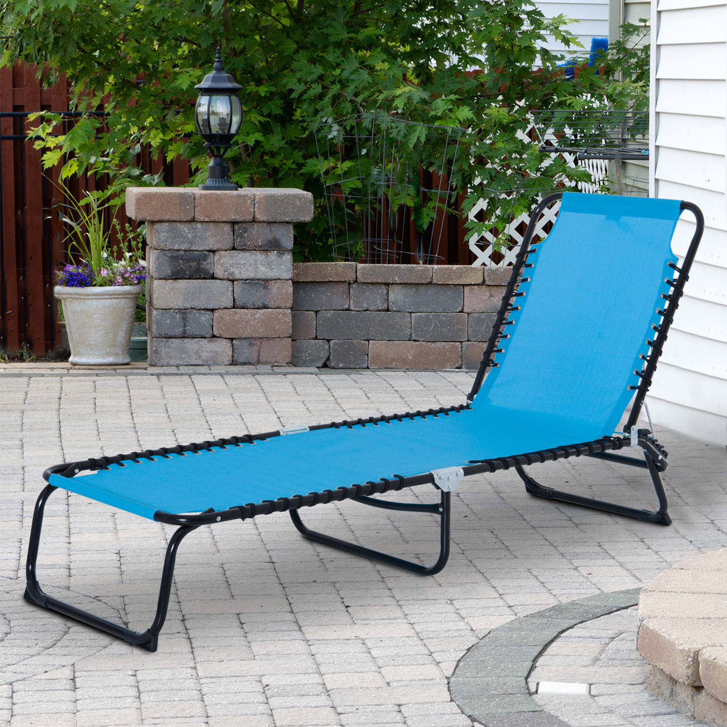 Details About 3 Position Portable Reclining Beach Chaise Lounge Adjustable Sleeping Light Blue In Recent Portable Reclining Beach Chaise Lounge Folding Chairs (View 18 of 25)