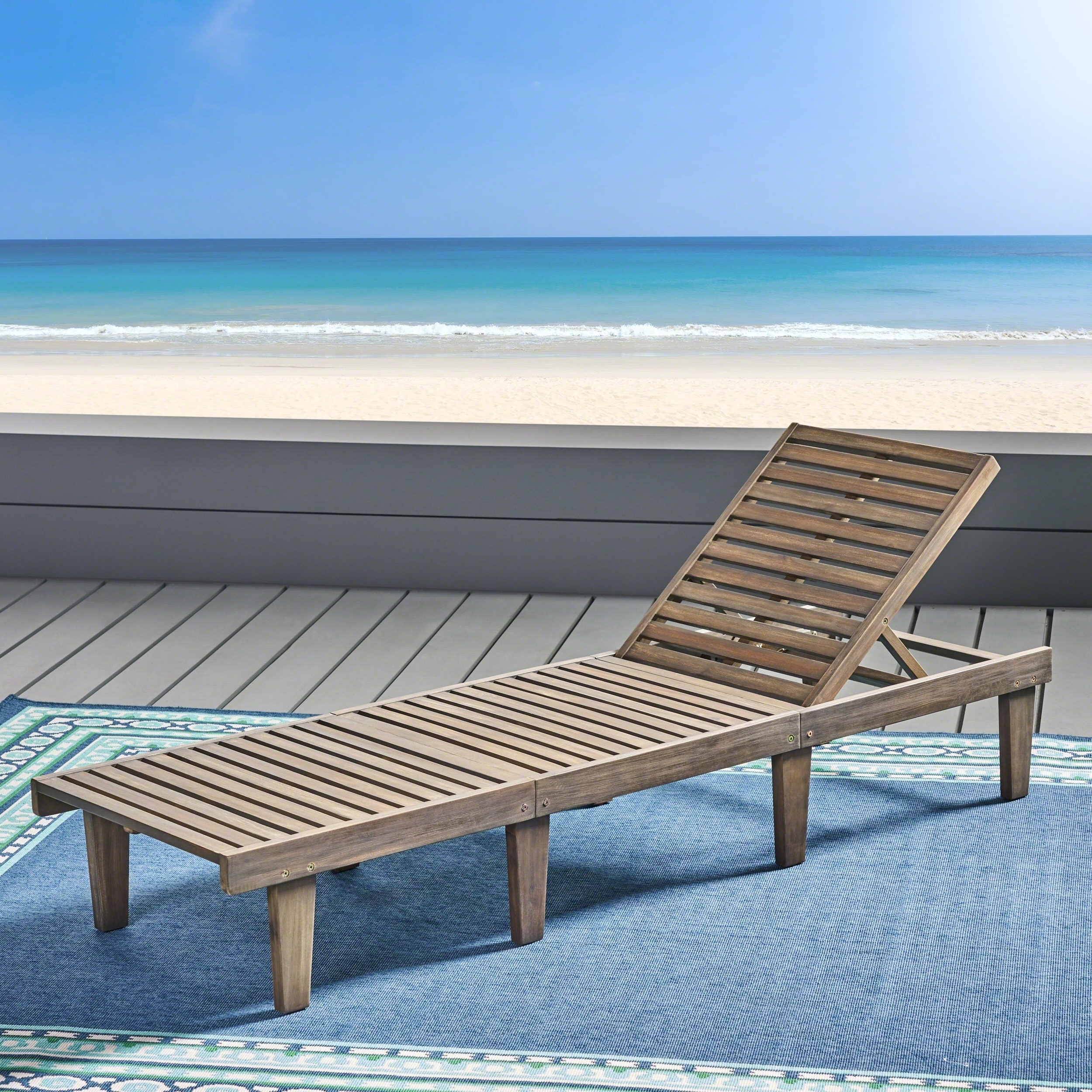 Details About Ariana Acacia Outdoor Wood Chaise Lounge With Cushion By Intended For Well Known Oudoor Modern Acacia Wood Chaise Lounges With Cushion (View 10 of 25)